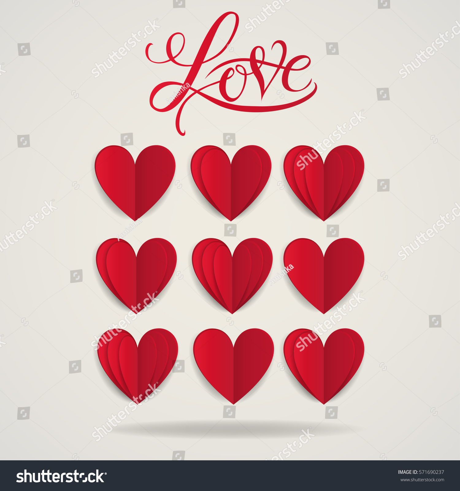 cut paper red valentine hearts abstract stock vector 571690237
