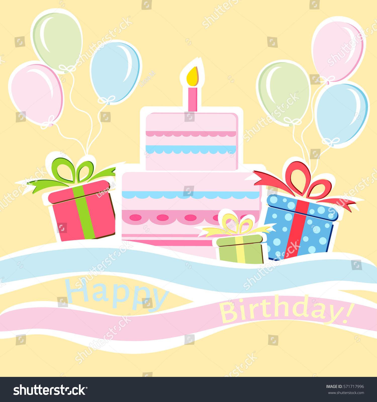 Birthday Greeting Card Layered Cake Presents Stock Vector Royalty