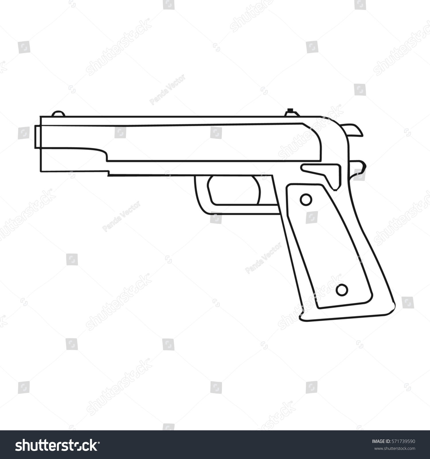 Military handgun icon outline style isolated stock illustration military handgun icon in outline style isolated on white background military and army symbol stock buycottarizona