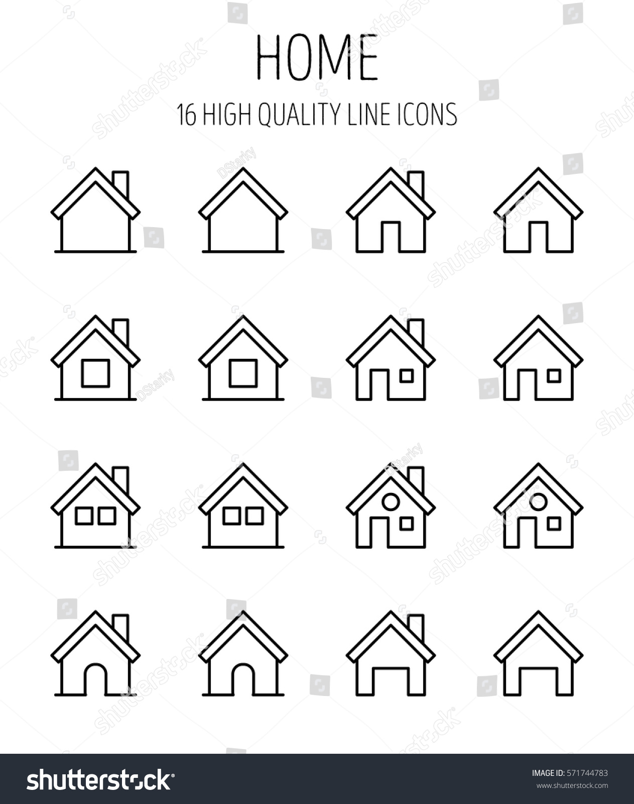 Set home icons modern thin line stock vector 571744783 shutterstock set of home icons in modern thin line style high quality black outline house symbols buycottarizona Image collections