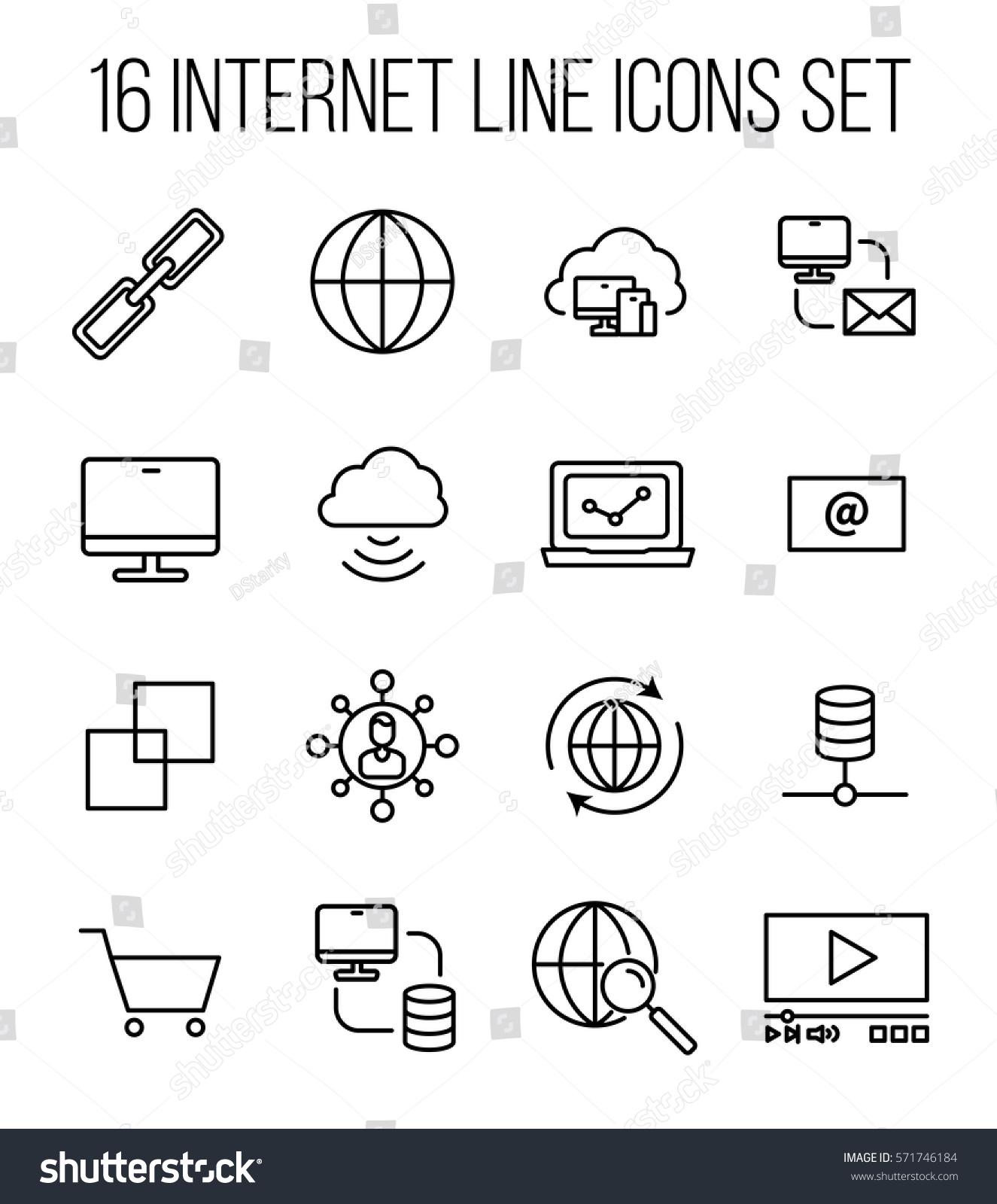 Set Internet Icons Modern Thin Line Stock Vector 571746184