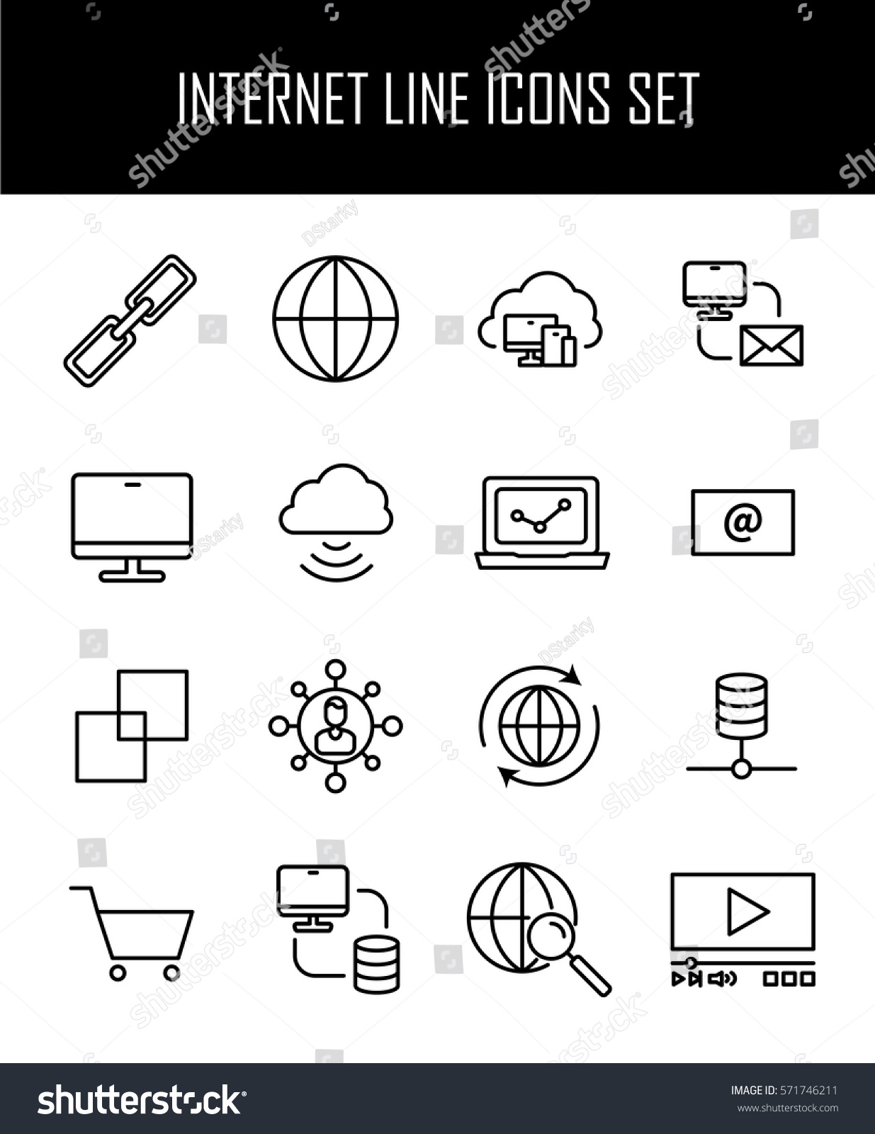 Set internet icons modern thin line stock vector 571746211 set of internet icons in modern thin line style high quality black outline web symbols biocorpaavc