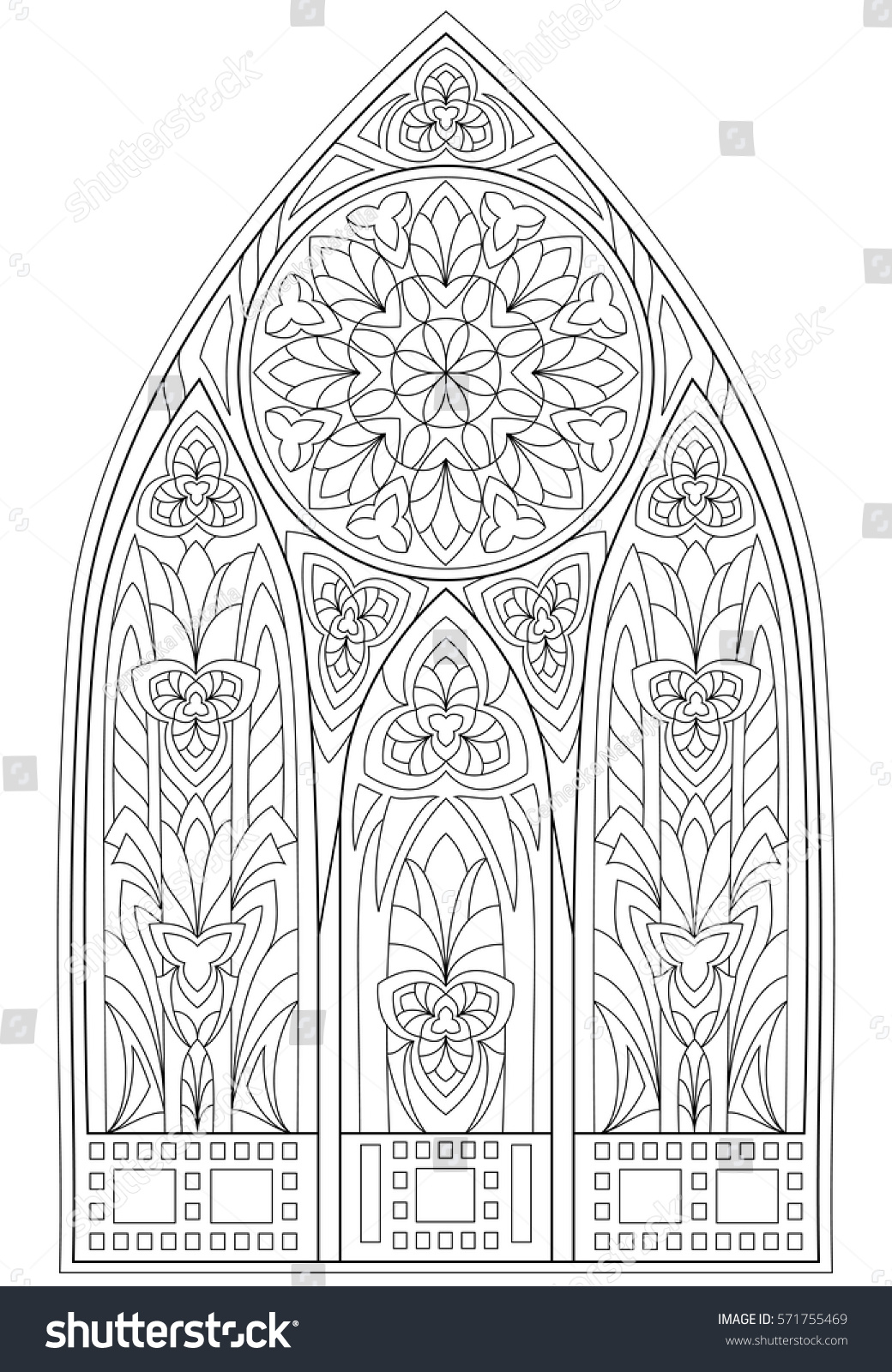 page black white drawing beautiful medieval stock vector 571755469