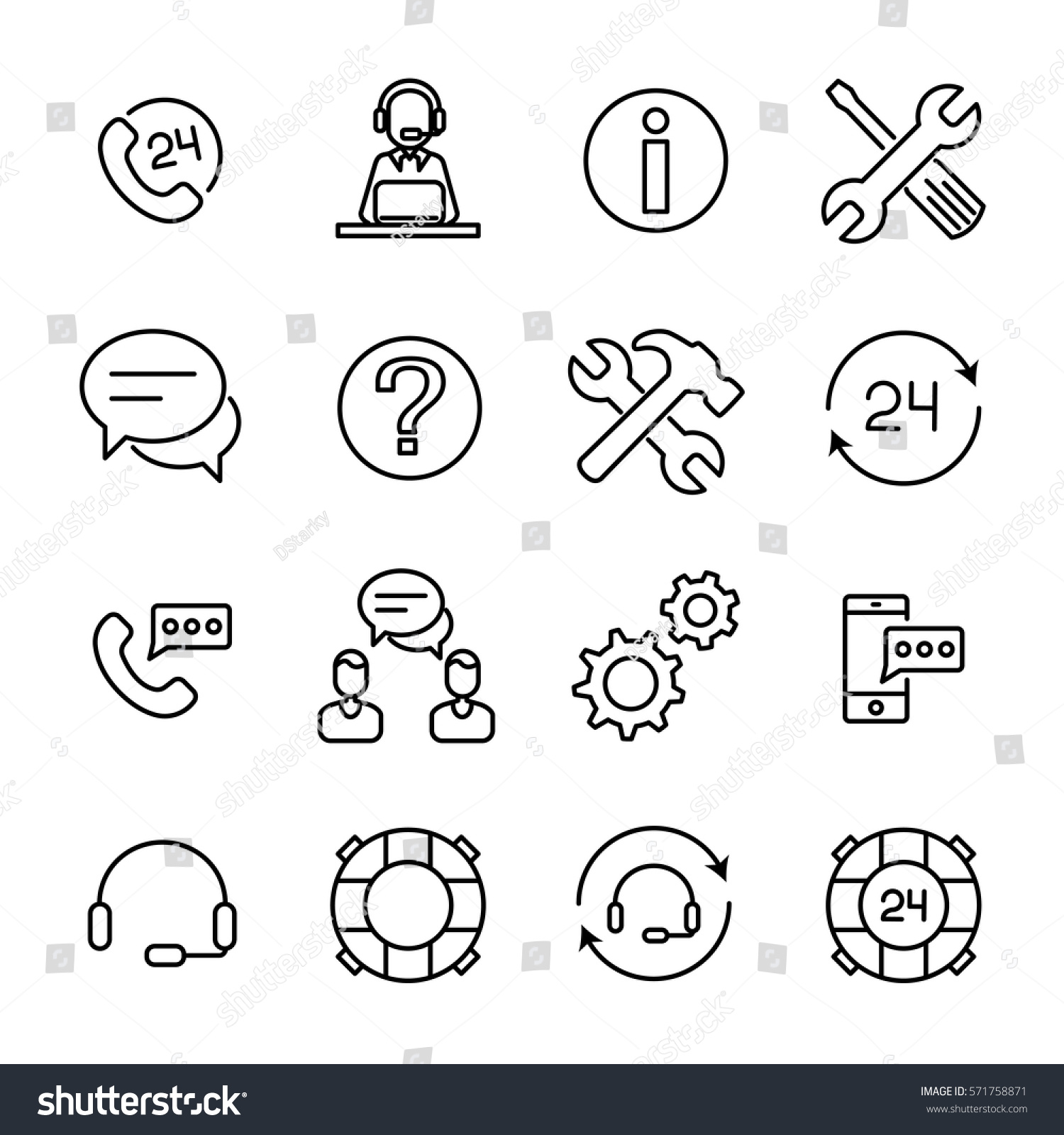 Set online support icons modern thin stock vector 571758871 set of online support icons in modern thin line style high quality black outline assist biocorpaavc Images