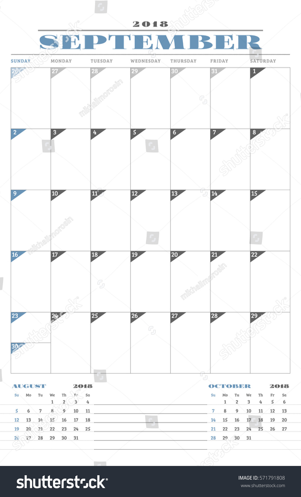 Calendar Planner Vector : Calendar planner template year september stock vector