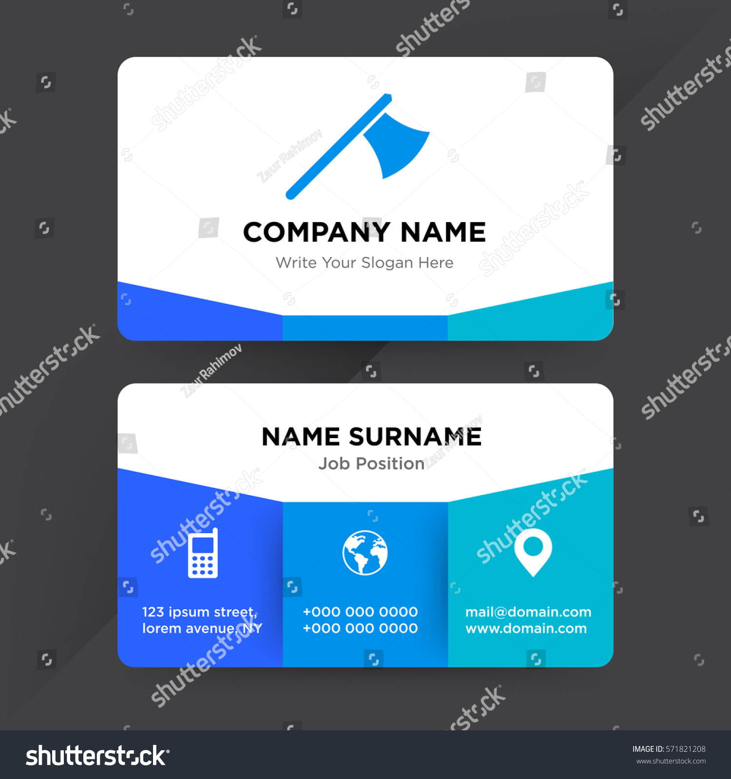 Template business card construction equipment services stock template of business card for construction equipment services company with blue metal ax vector with elements magicingreecefo Images