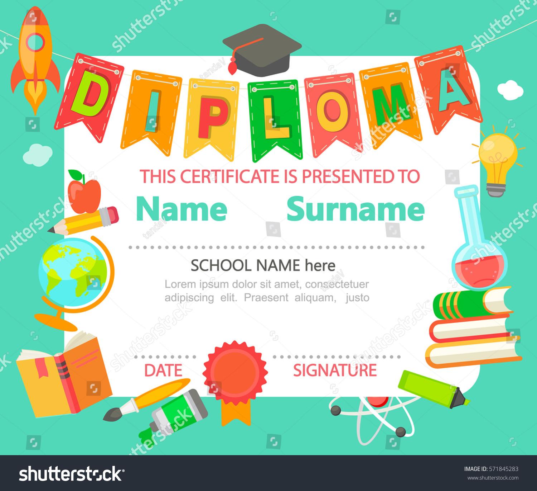 Kindergarten Preschool Elementary School Kids Diploma Vector de ...