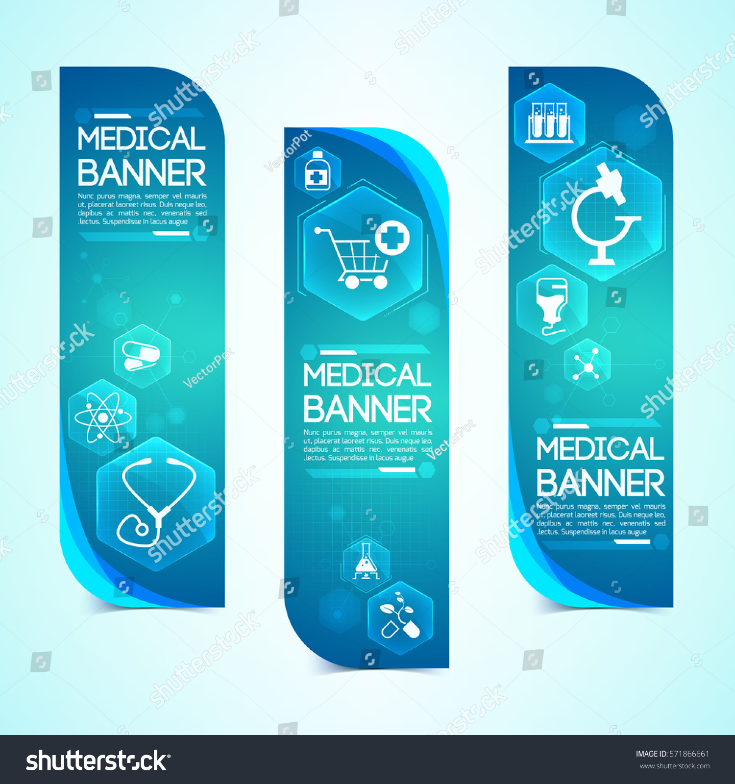 Medical Blue Vertical Banners Set Medicine Stock Vector Royalty Free 571866661