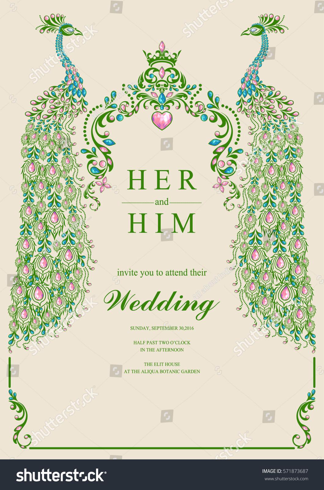Indian Wedding Invitation Card Templates Gold Stock Photo (Photo ...