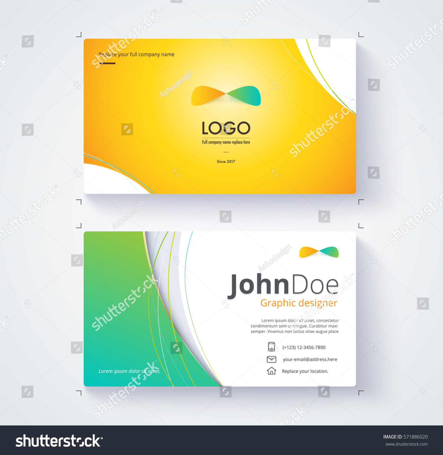 Business card template include sample logo stock vector 571886020 business card template include sample logo and text template design colourmoves