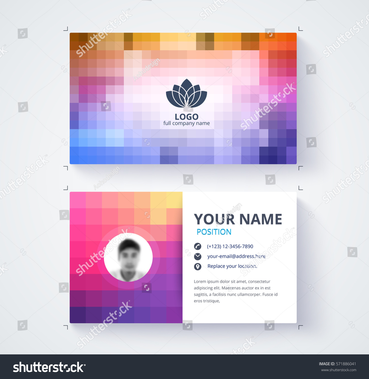 Abstract Pixel Business Card Template Contact Stock Vector 571886041 ...
