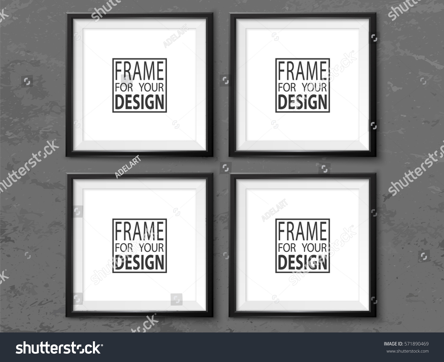 Frames Wall Gallery On Grunge Grey Stock Vector (Royalty Free ...