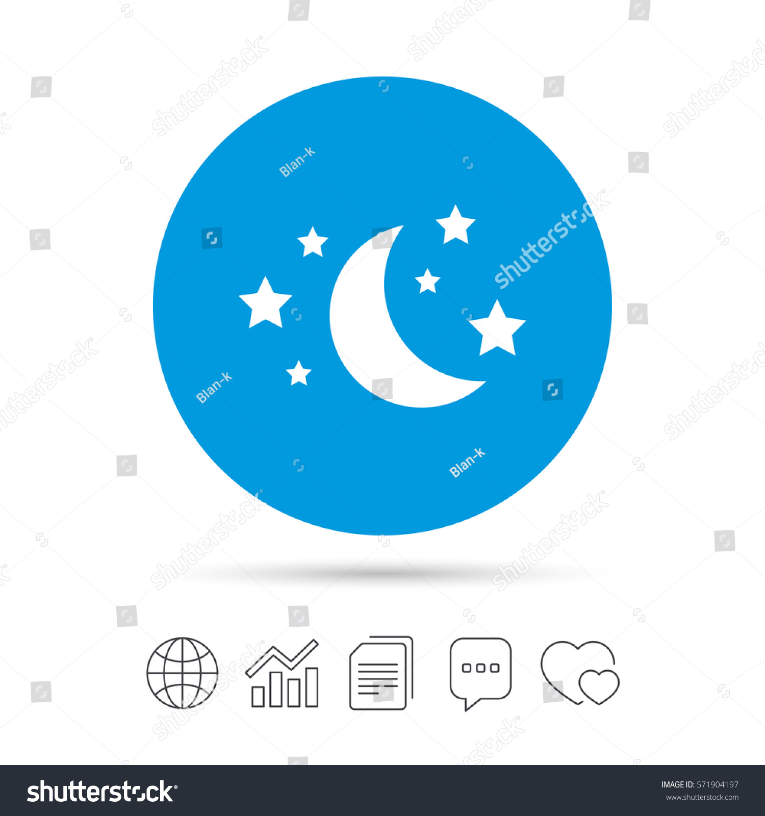 Moon Stars Icon Sleep Dreams Symbol Stock Vector Royalty Free