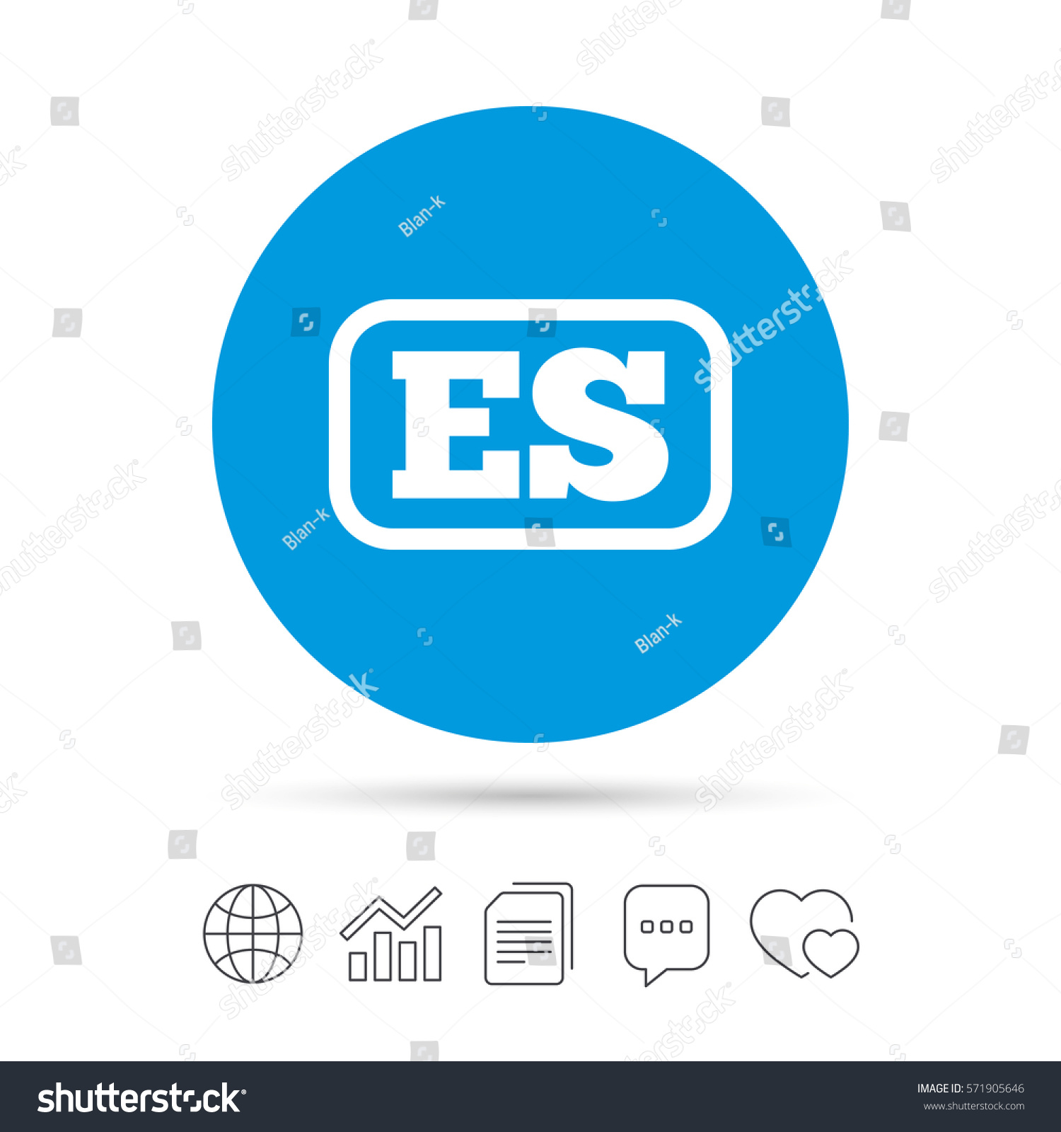 Spanish Language Sign Icon Es Translation Stock Vector 571905646