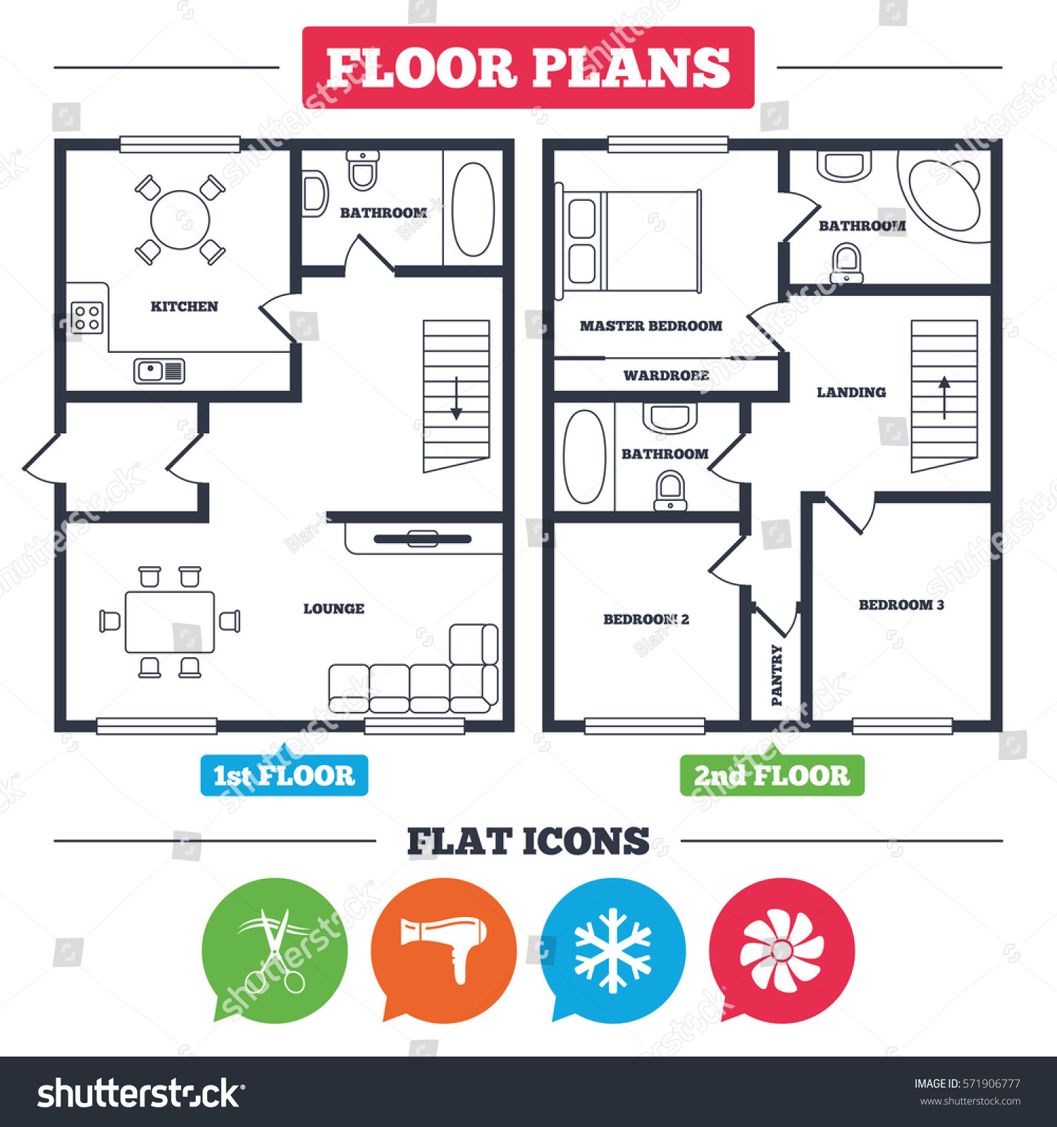 Architecture plan furniture house floor plan stock vector for Floor plan services