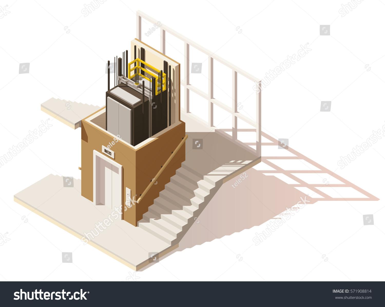 vector isometric low poly elevator cutaway stock vector