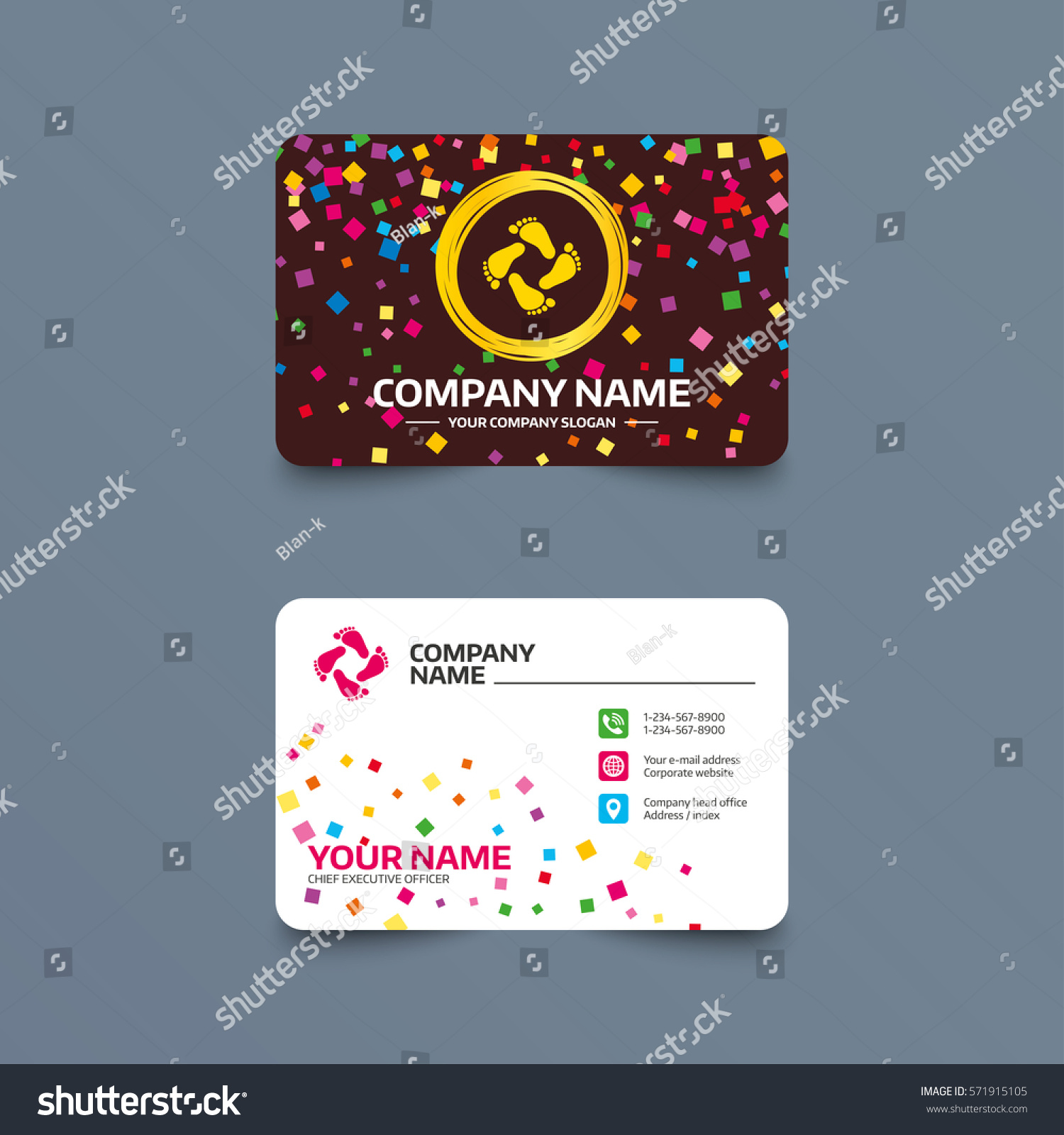 Business Card Template Confetti Pieces Baby Stock Vector 571915105 ...