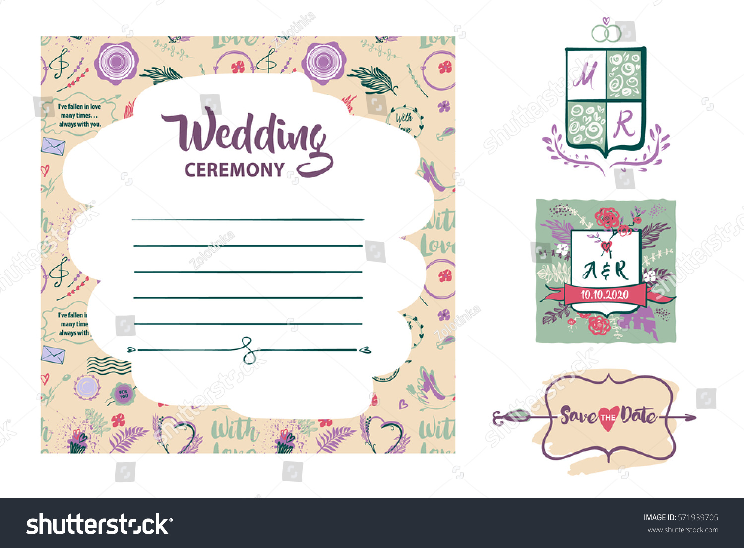 Free hand drawn template vector invitation stock vector 571939705 free hand drawn template vector invitation for wedding ceremony with open space for text save stopboris Image collections