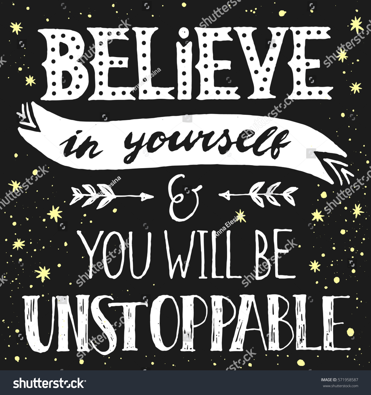 Inspirational Quote Believe Yourself You Will Stock Vector Royalty