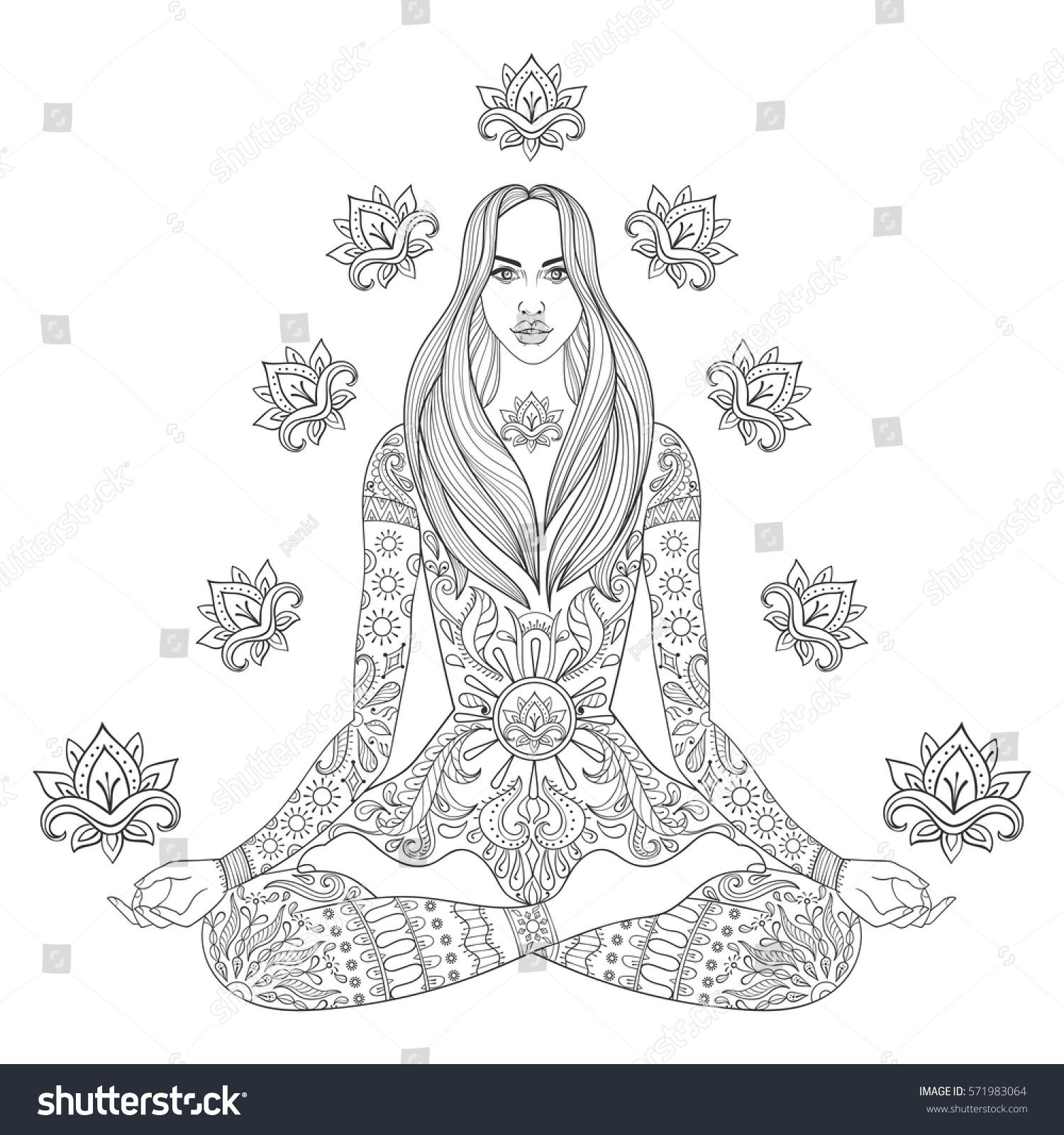 Meditating Beauiful Girl Sitting In Lotus Pose Vector Ornate Boho