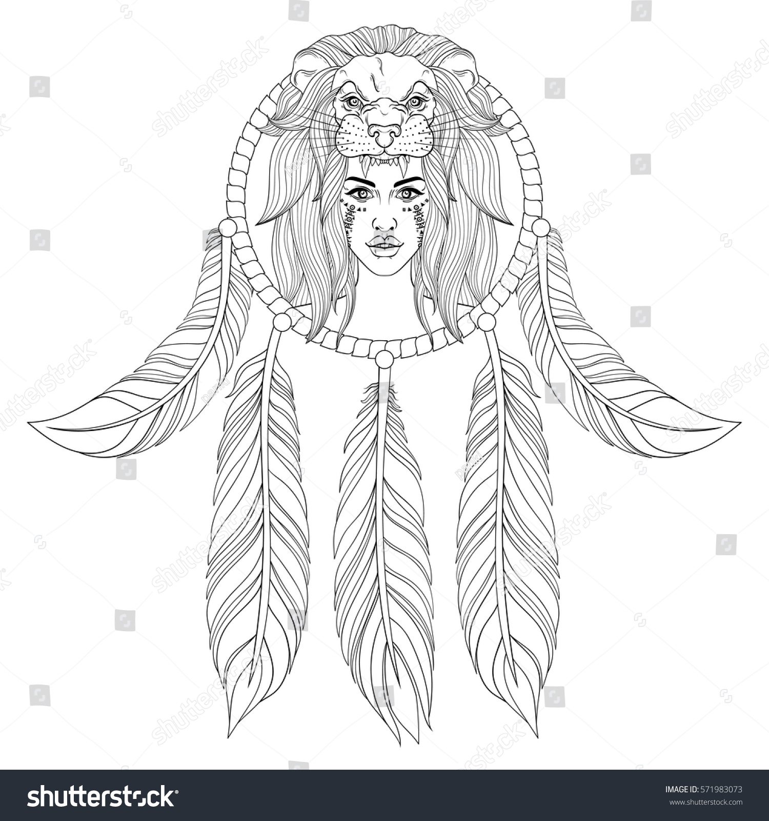 portrait of the vintage boho with lion head mask with war
