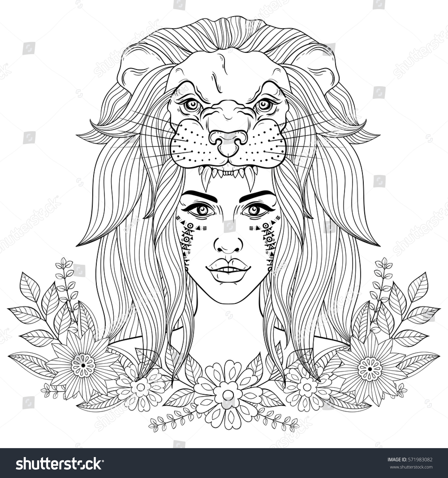 portrait boho lion head mask stock vector 571983082