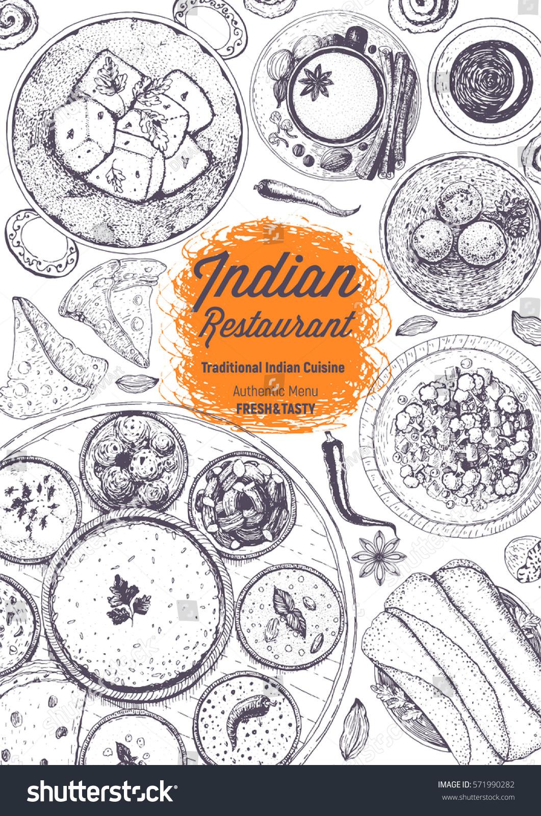 Indian Cuisine Top View Frame Indian Stock Vector 571990282 - Shutterstock