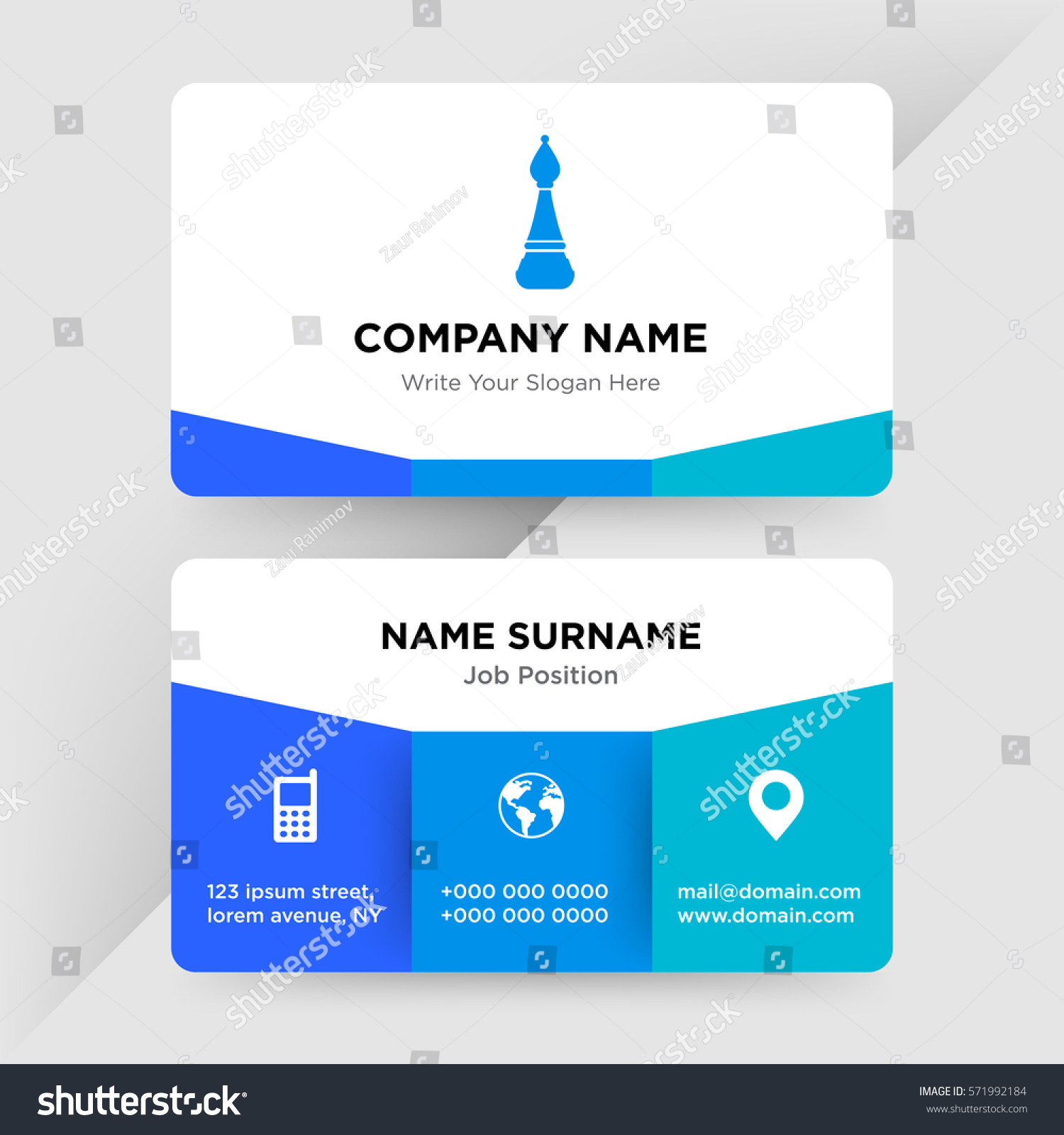 Template Business Card Management Chess School Stock Photo (Photo ...