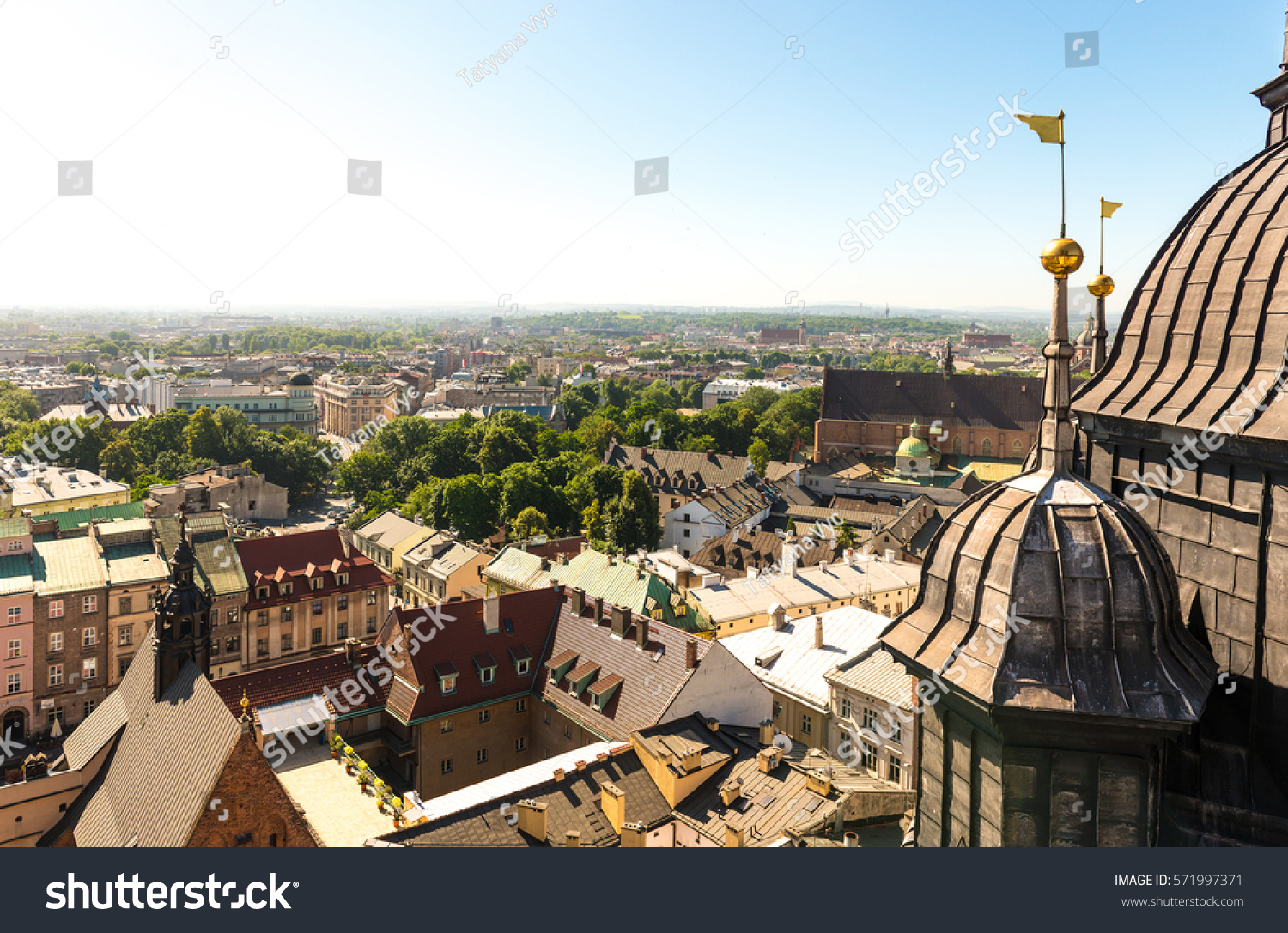 Overlooking The Centre Of Krakow And Ancient European Architecture Poland Birds Eye View