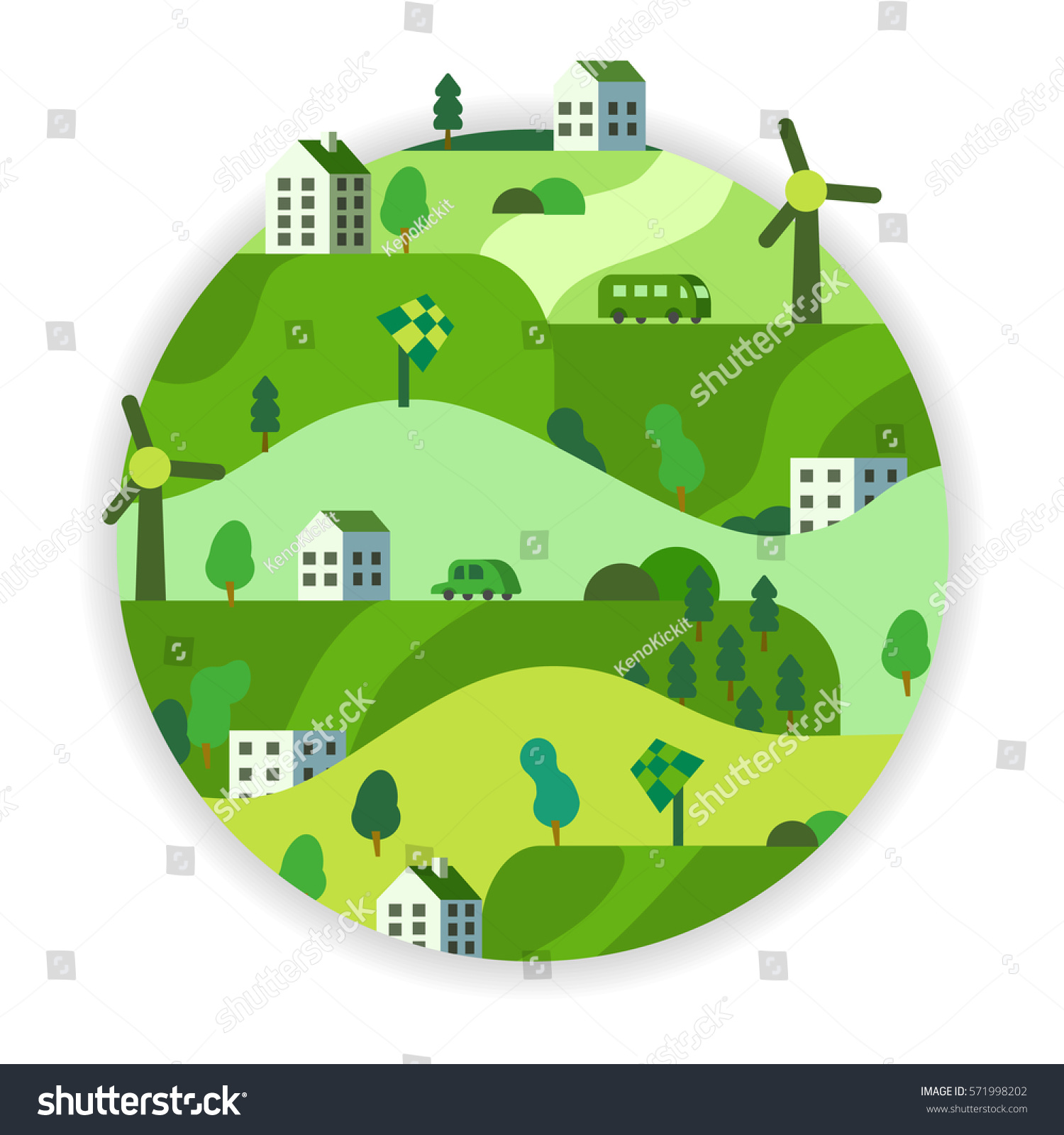 eco friendly green energy concept vector stock vector 571998202 shutterstock. Black Bedroom Furniture Sets. Home Design Ideas