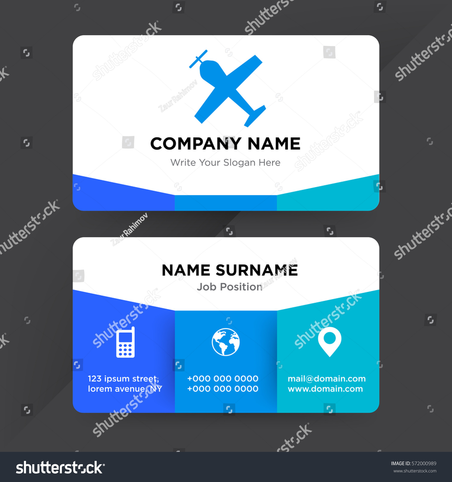 Template business card travel agency airline stock vector 572000989 template of business card for travel agency airline services company with blue plane and aircraft wajeb Gallery