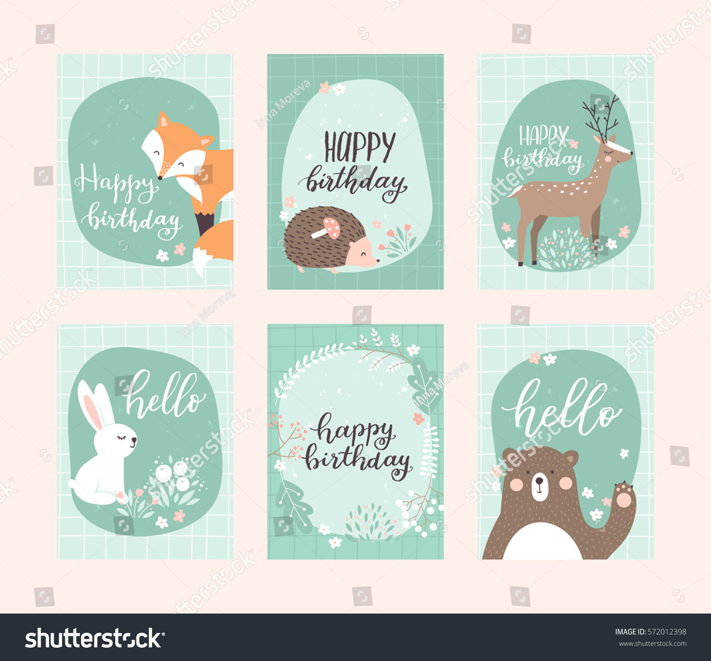 vector birthday greeting cards templates cute stock vector royalty