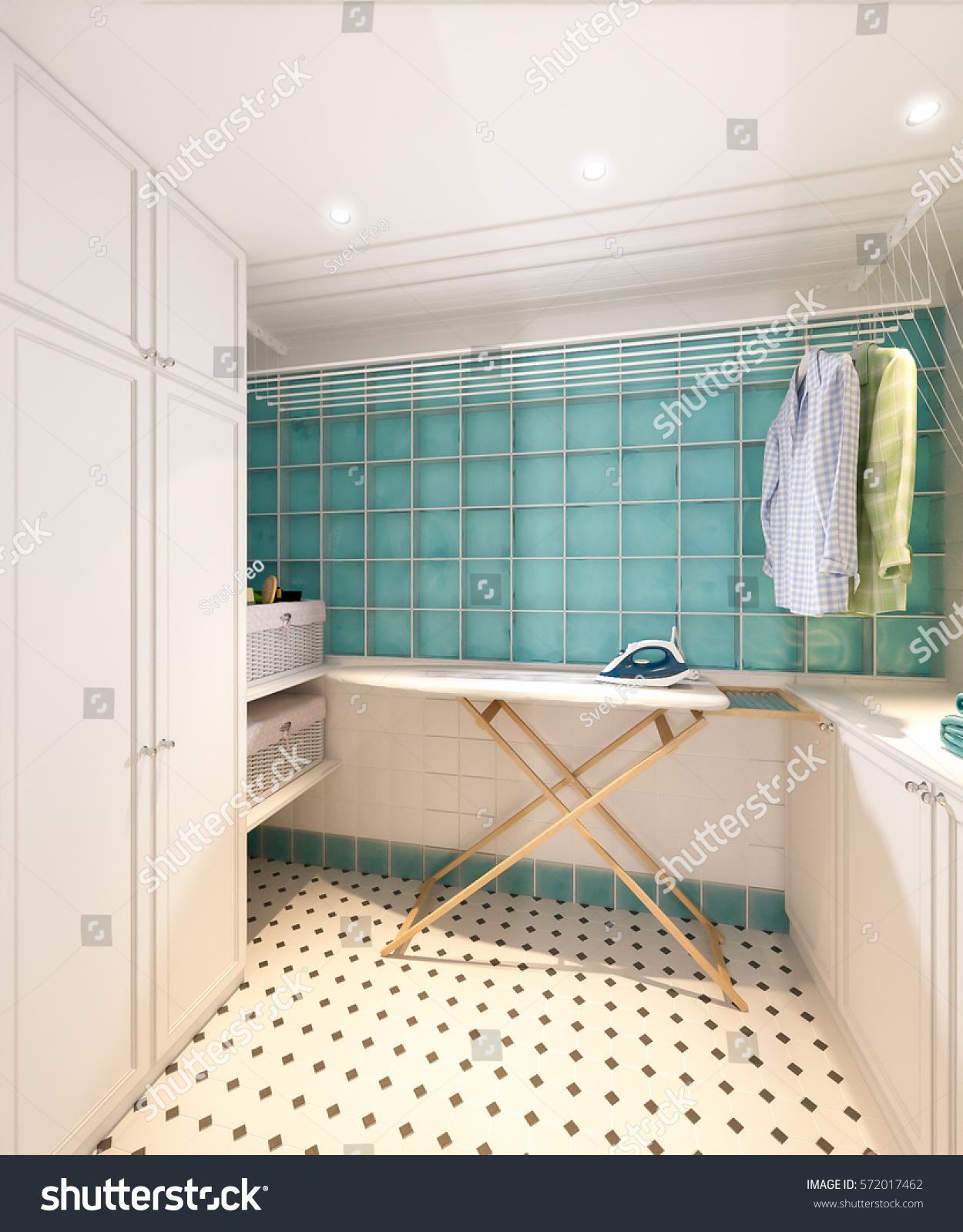 Bright Classic Traditional Laundry Room Bathroom Stock Illustration ...