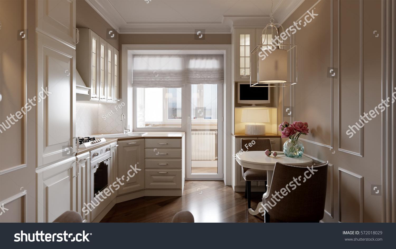 Elegant Classic Kitchen Interior Design White Stock Illustration