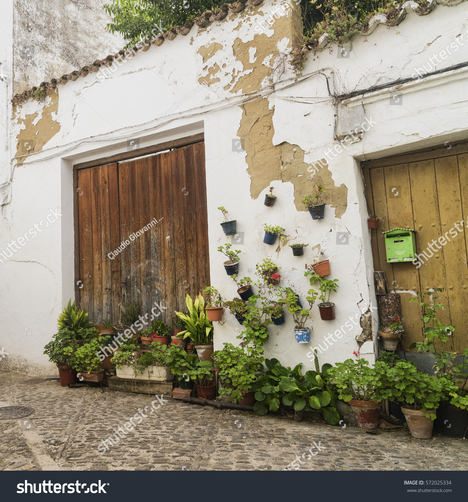 Ronda Andalucia Spain Old Typical Street With White Houses