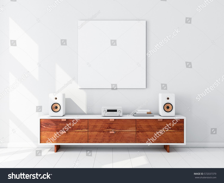 Square White Canvas Mockup Hanging On Stock Illustration 572037379
