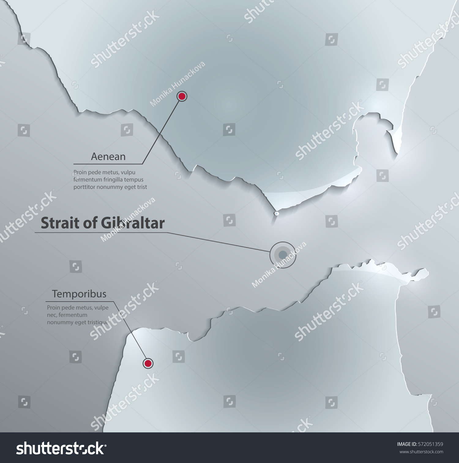 Strait Gibraltar Map Glass Card Paper Stock Vector Royalty Free