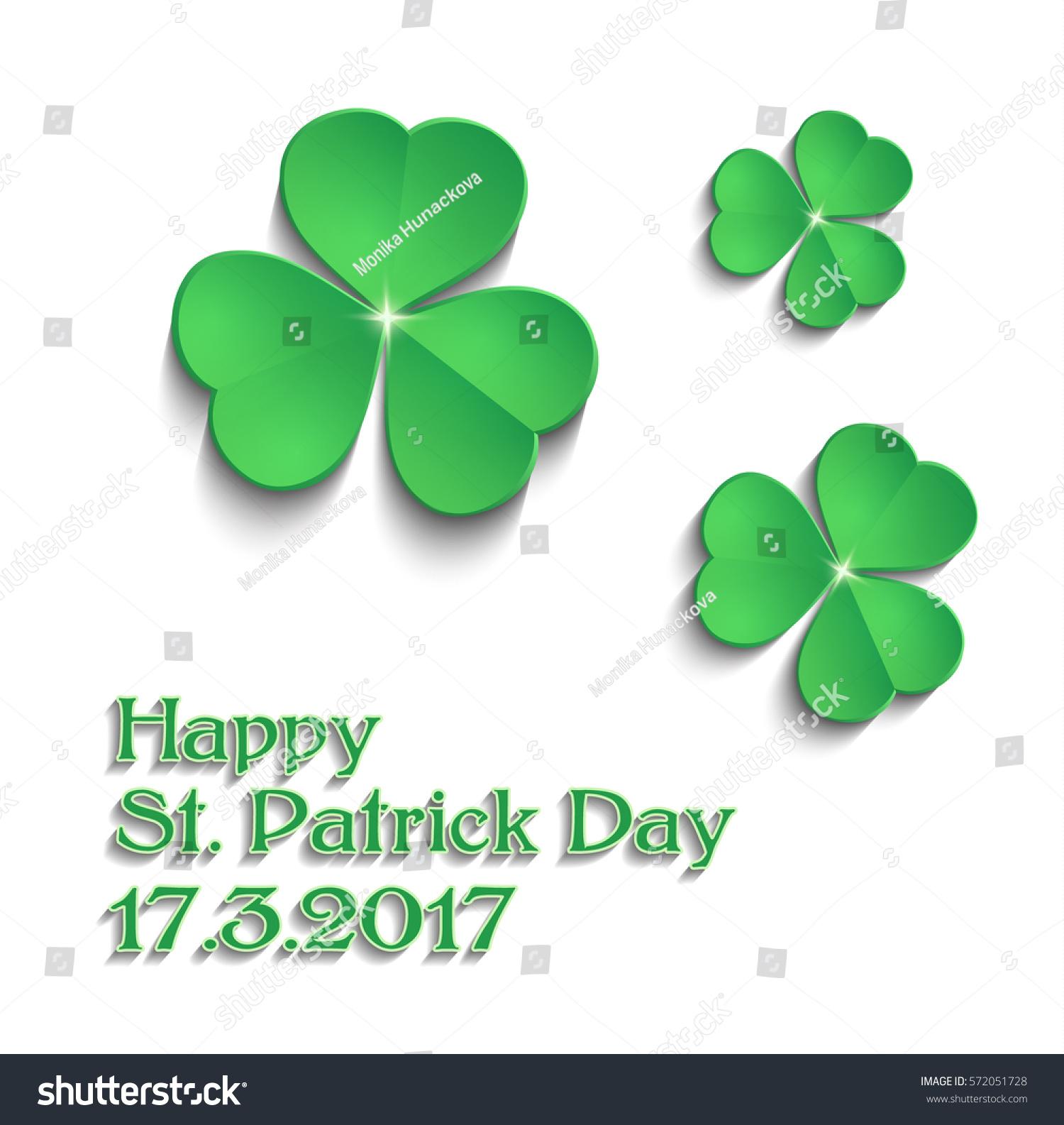 stpatricks day shamrock green text vector stock vector 572051728