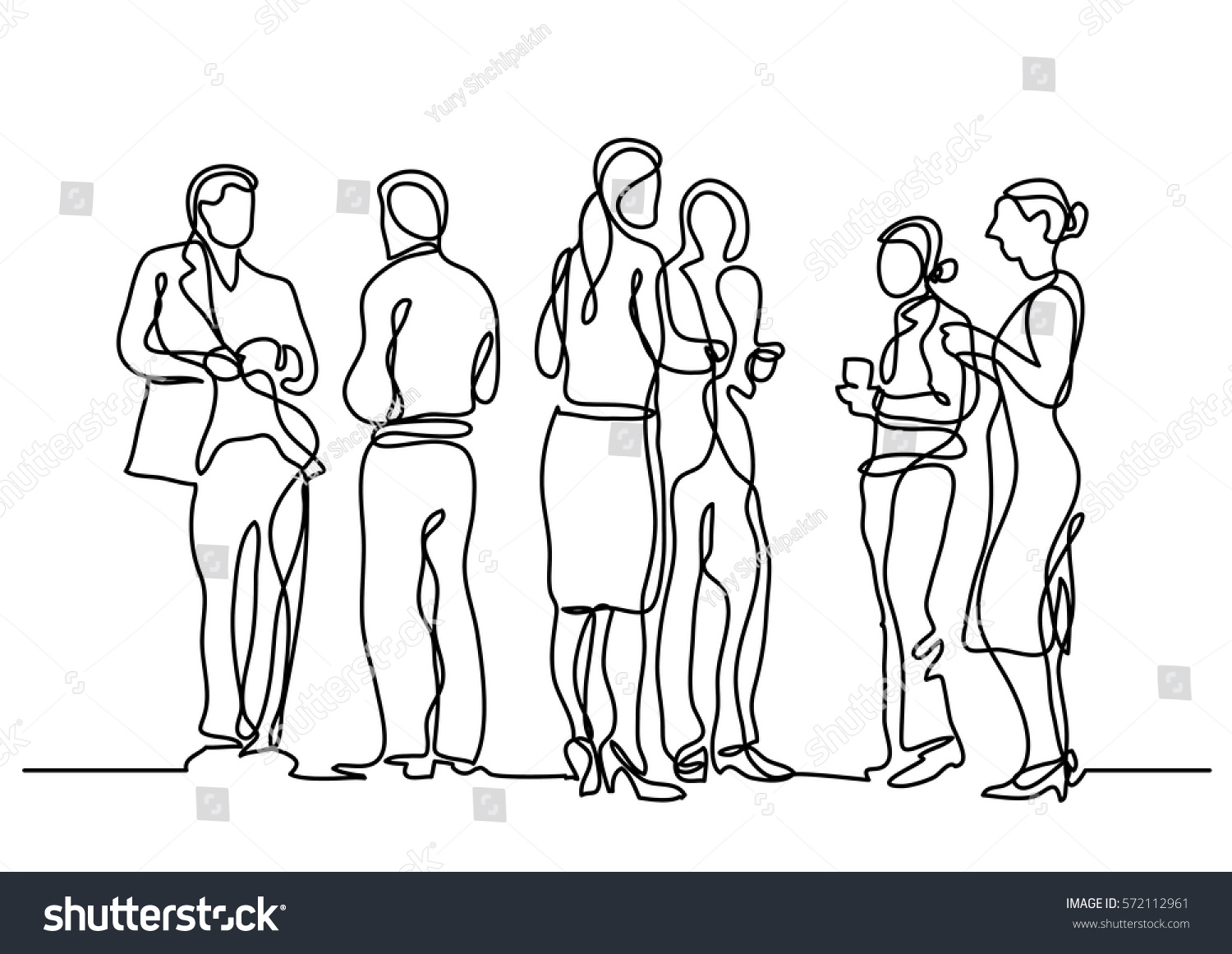 Drawing Lines In Office : Continuous line drawing office party stock vector