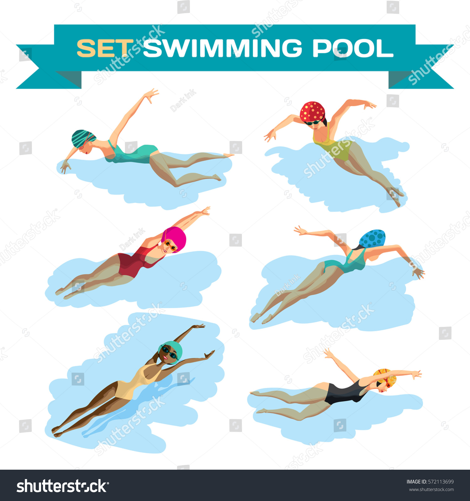 Set Young Women Sports Swimsuit Swims Stock Vector ...