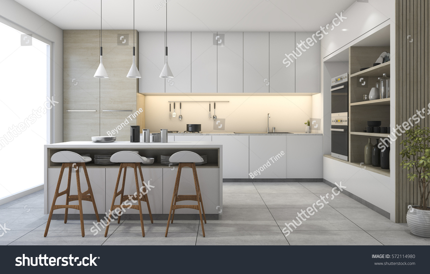 Traditional White Kitchen Design 3d Rendering: 3d Rendering White Modern Design Kitchen Stock