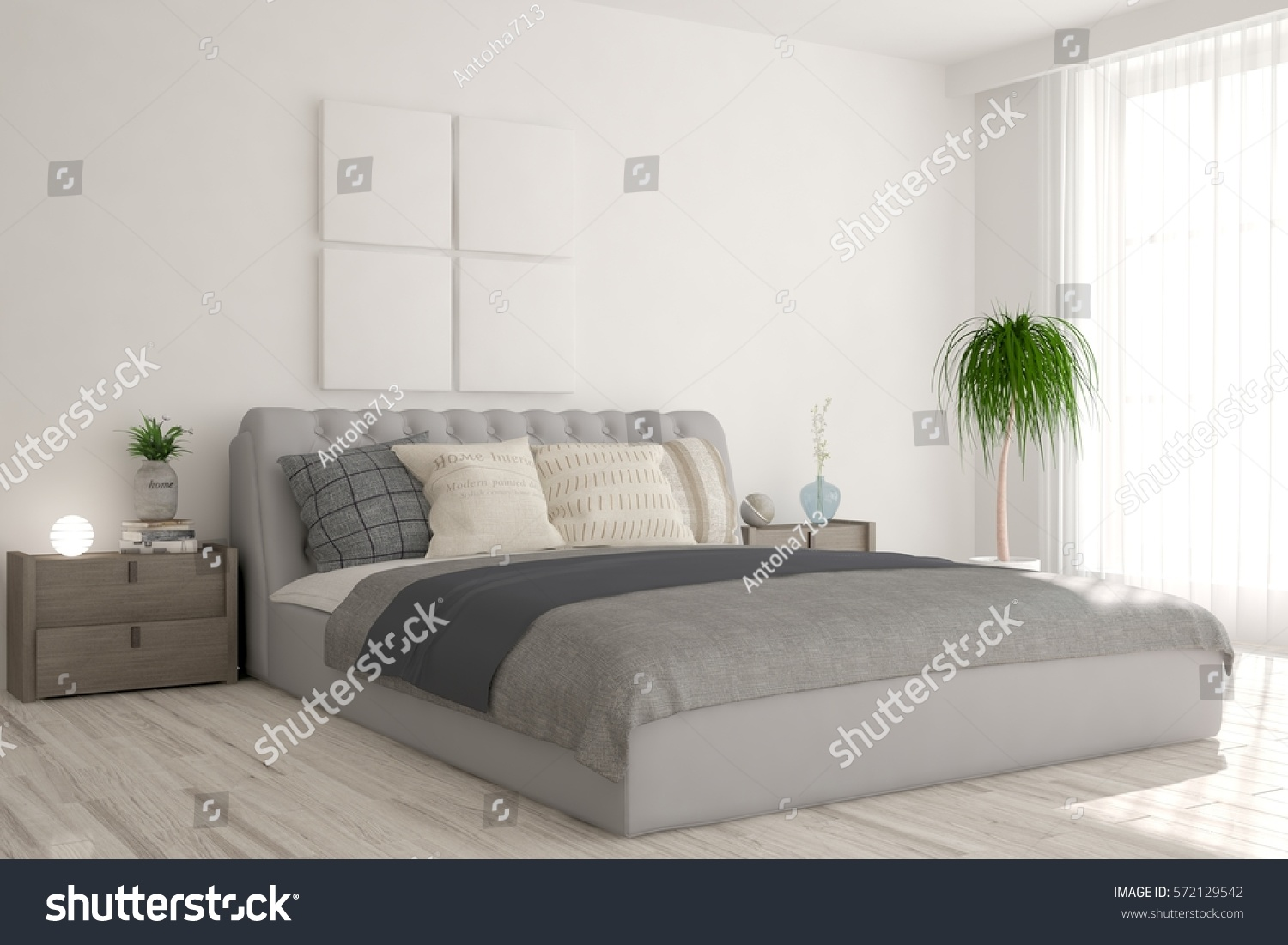 White bedroom scandinavian interior design 3d stock Scandinavian interior design bedroom