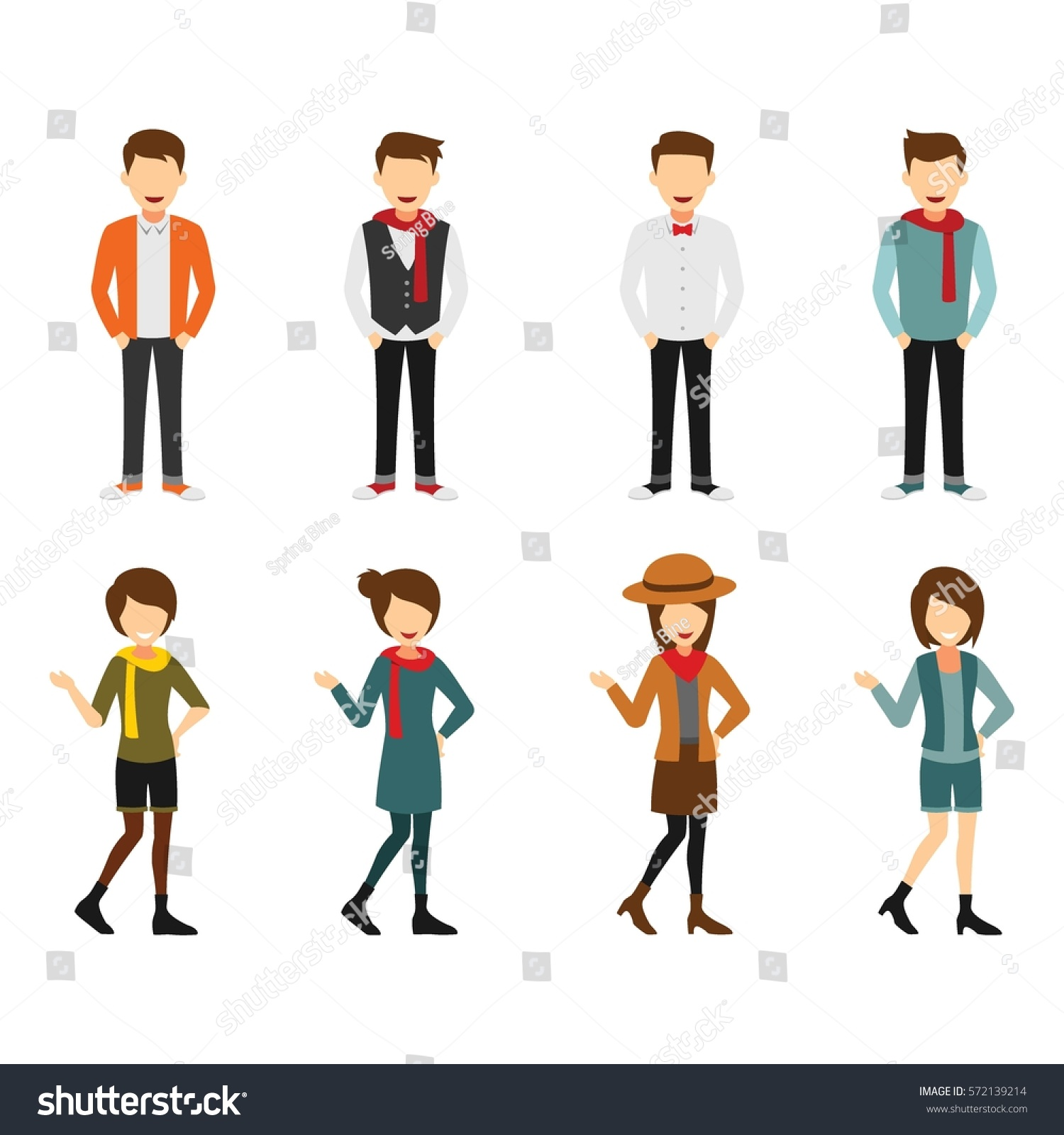 Character Design Vector : Hipster character design vector stock