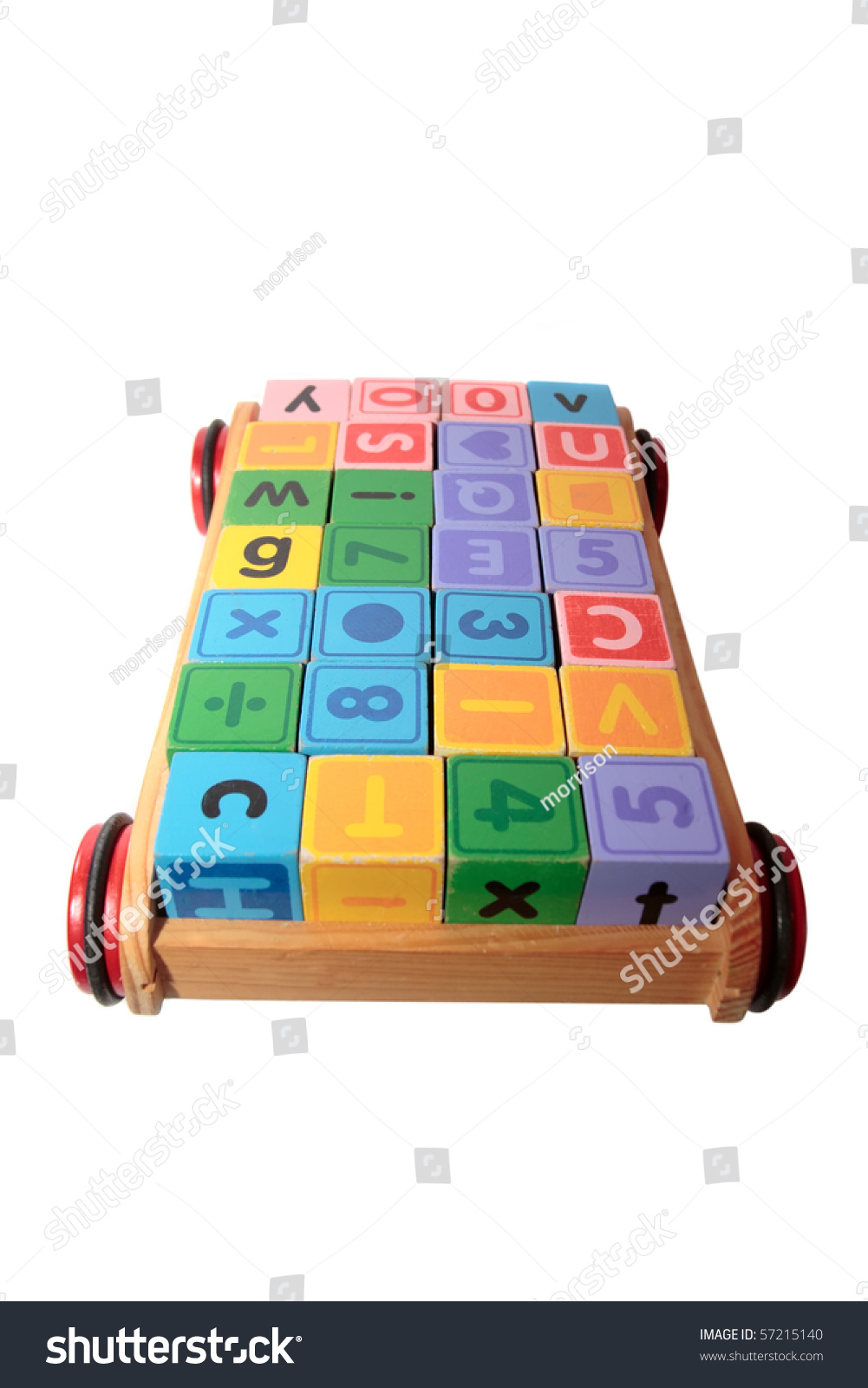 children toy letter building blocks all together in a toy cart isolated on white background #57215140