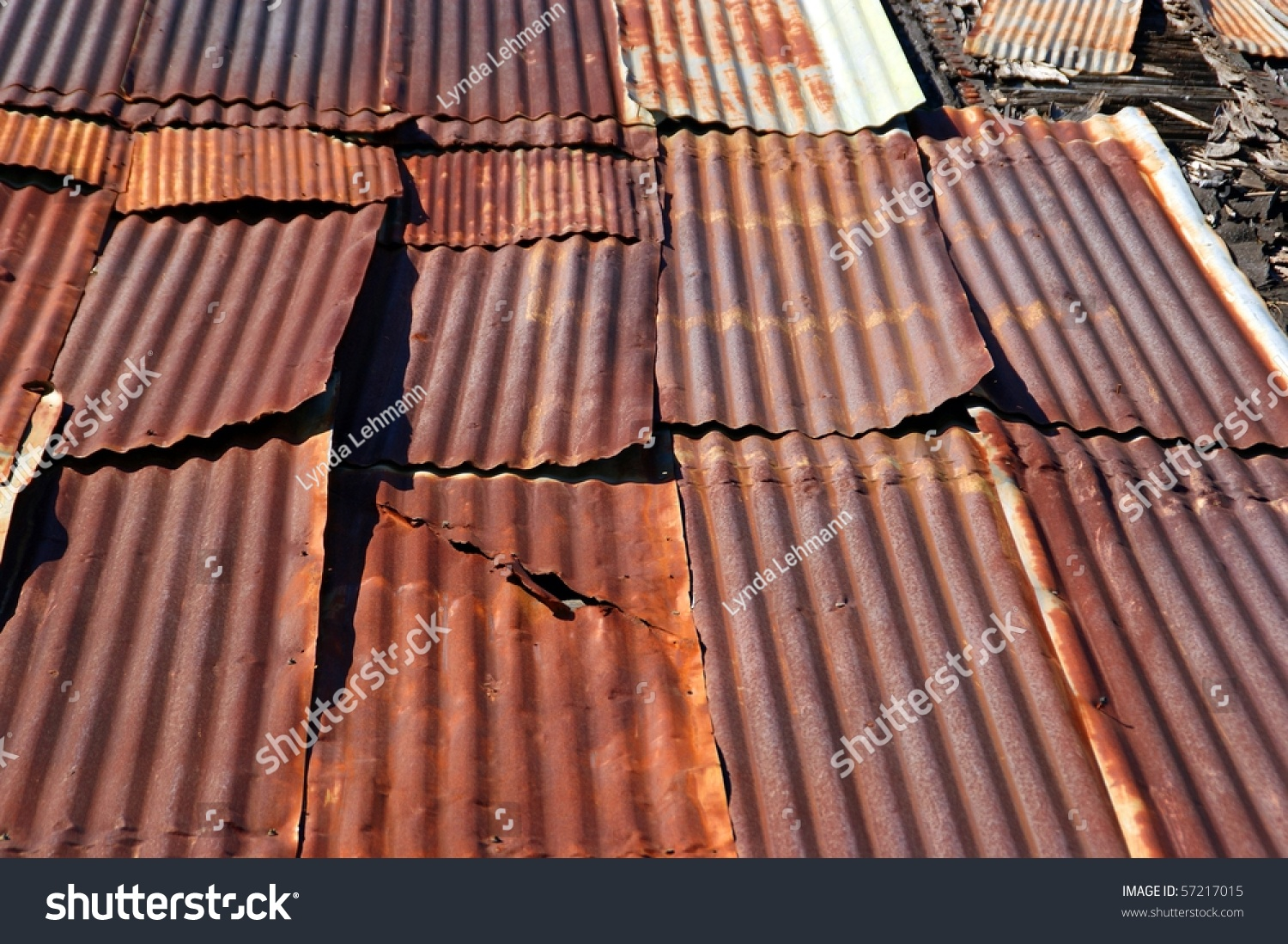Vintage Grunge Roof Rusted Crimped Sheet Stock Photo
