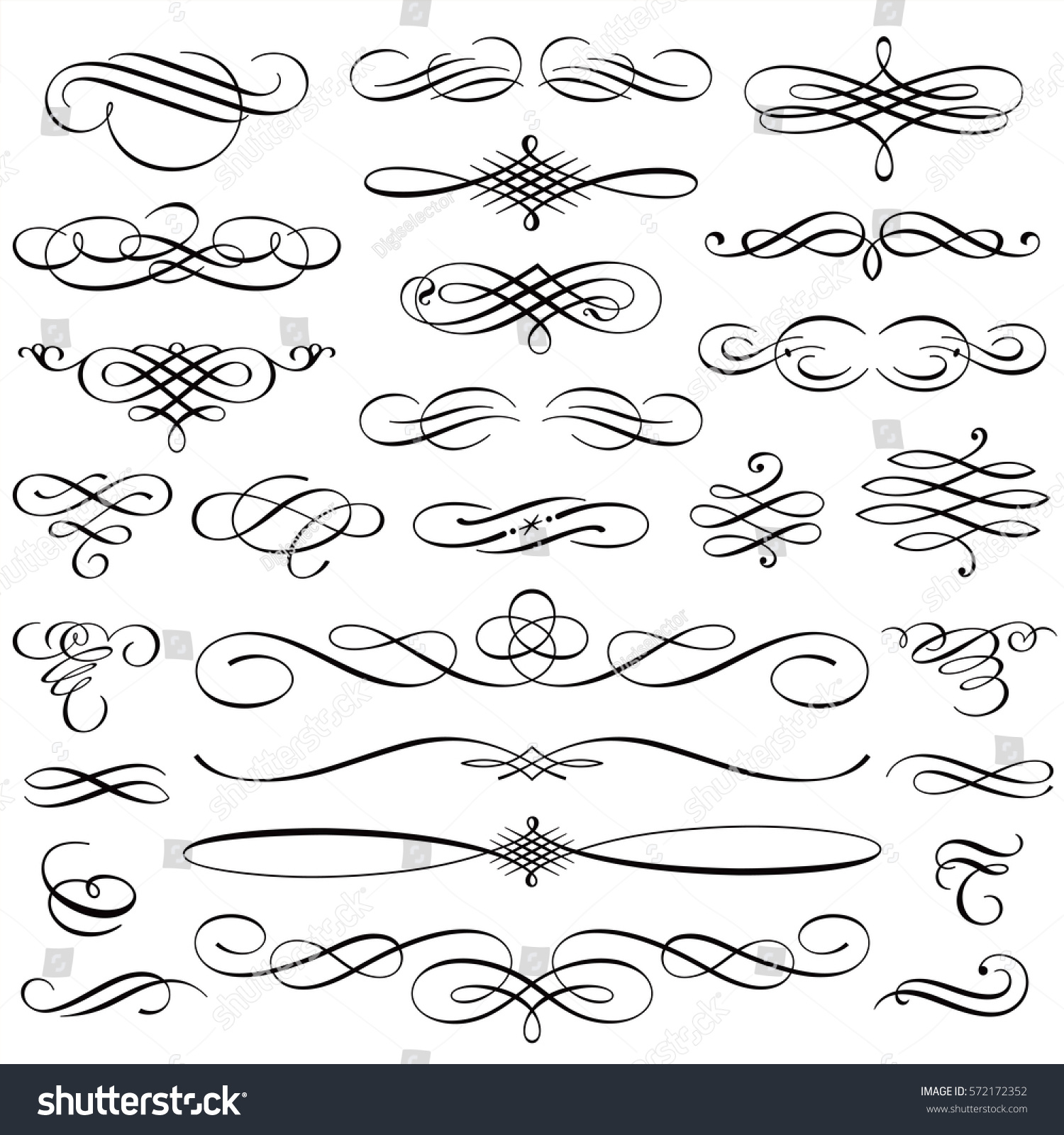 Vintage Calligraphic Design Elements Swirls Vignettes Stock Vector 572172352 Shutterstock