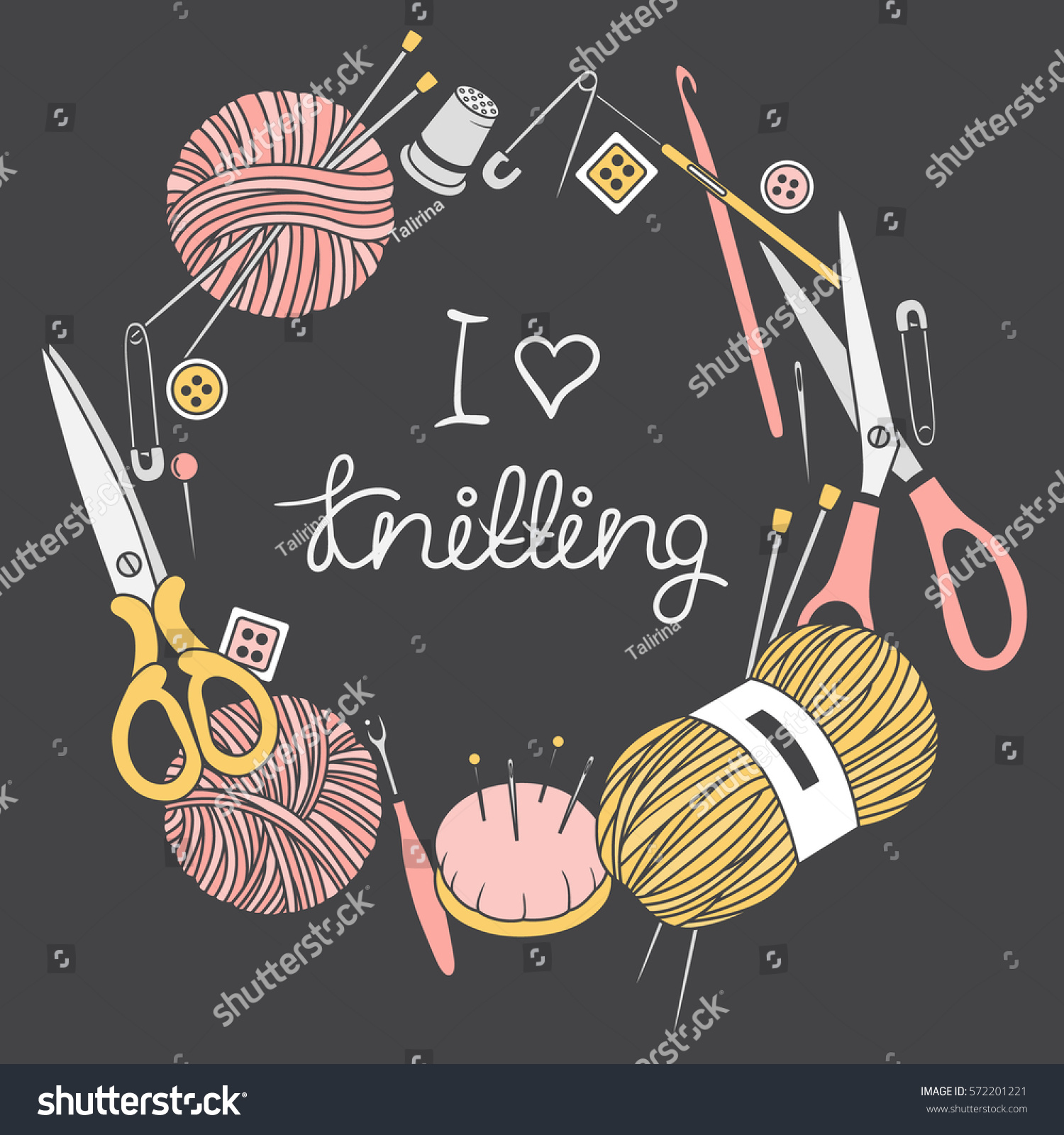 Poster design tools - Set Of Tools For Knitting And Crochet Hand Drawn Icons I Love Knitting