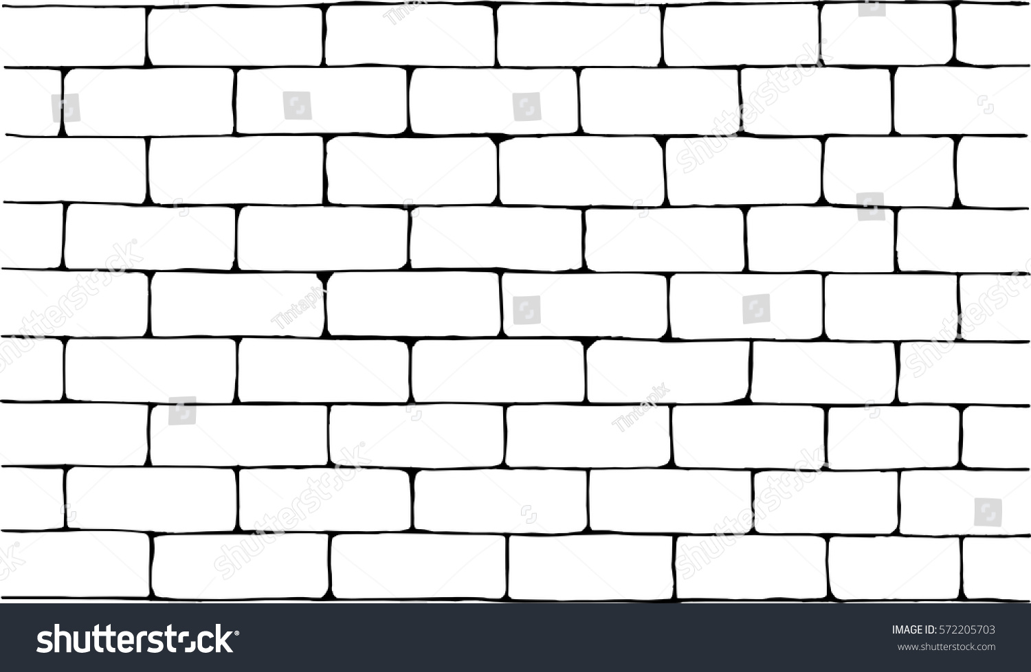 Hand drawn ink brick wall vector