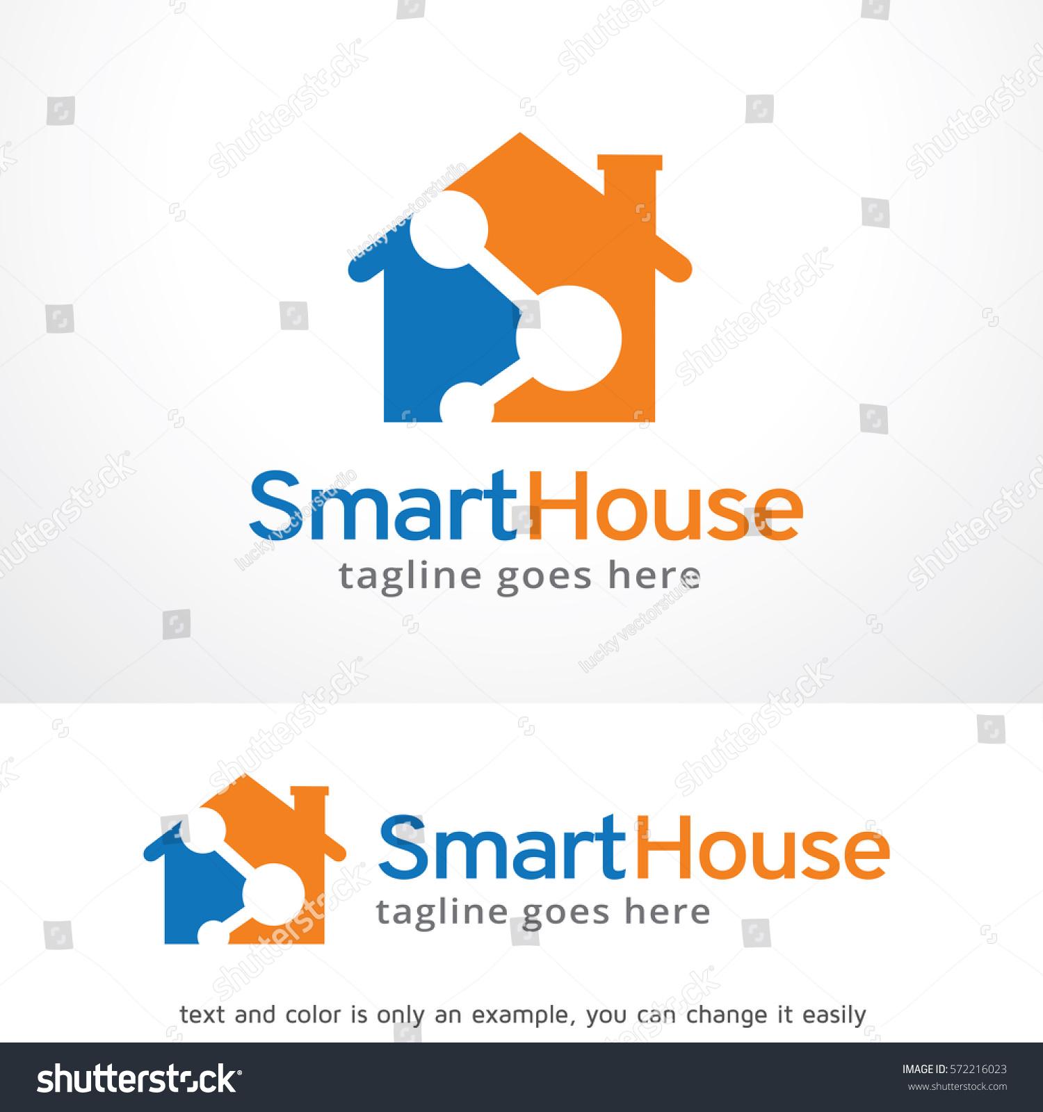 smart house logo template design vector