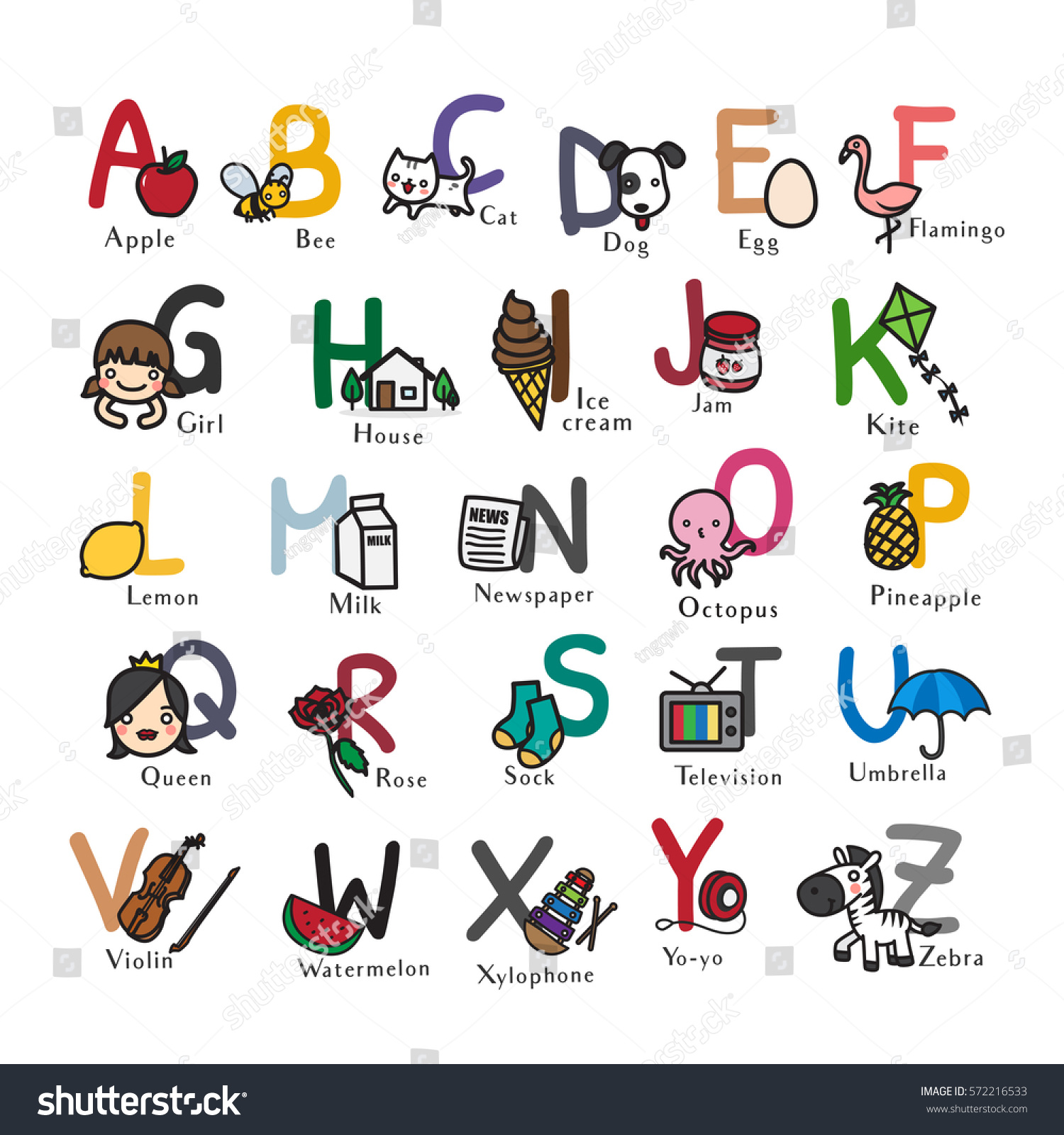 ABC Alphabet With Cute Cartoon For Kids Hand Drawn Vector Illustration Isolated On White Background